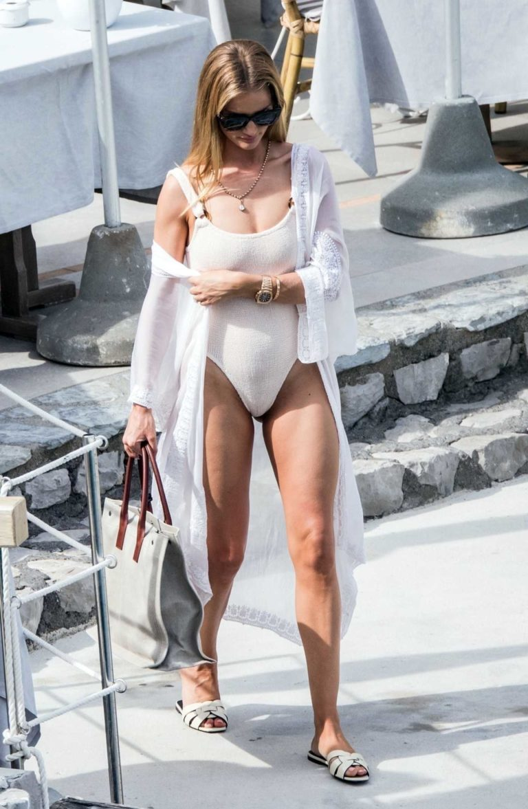 Rosie Huntington-Whiteley in a Cream Swimsuit