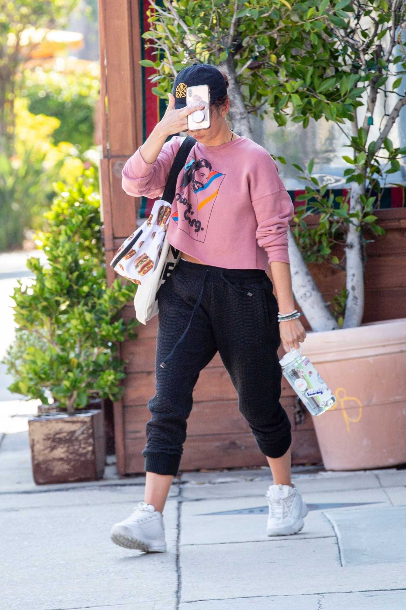 Sarah Hyland in a Pink Sweatshirt Leaves a Gym in LA 06/26/2019