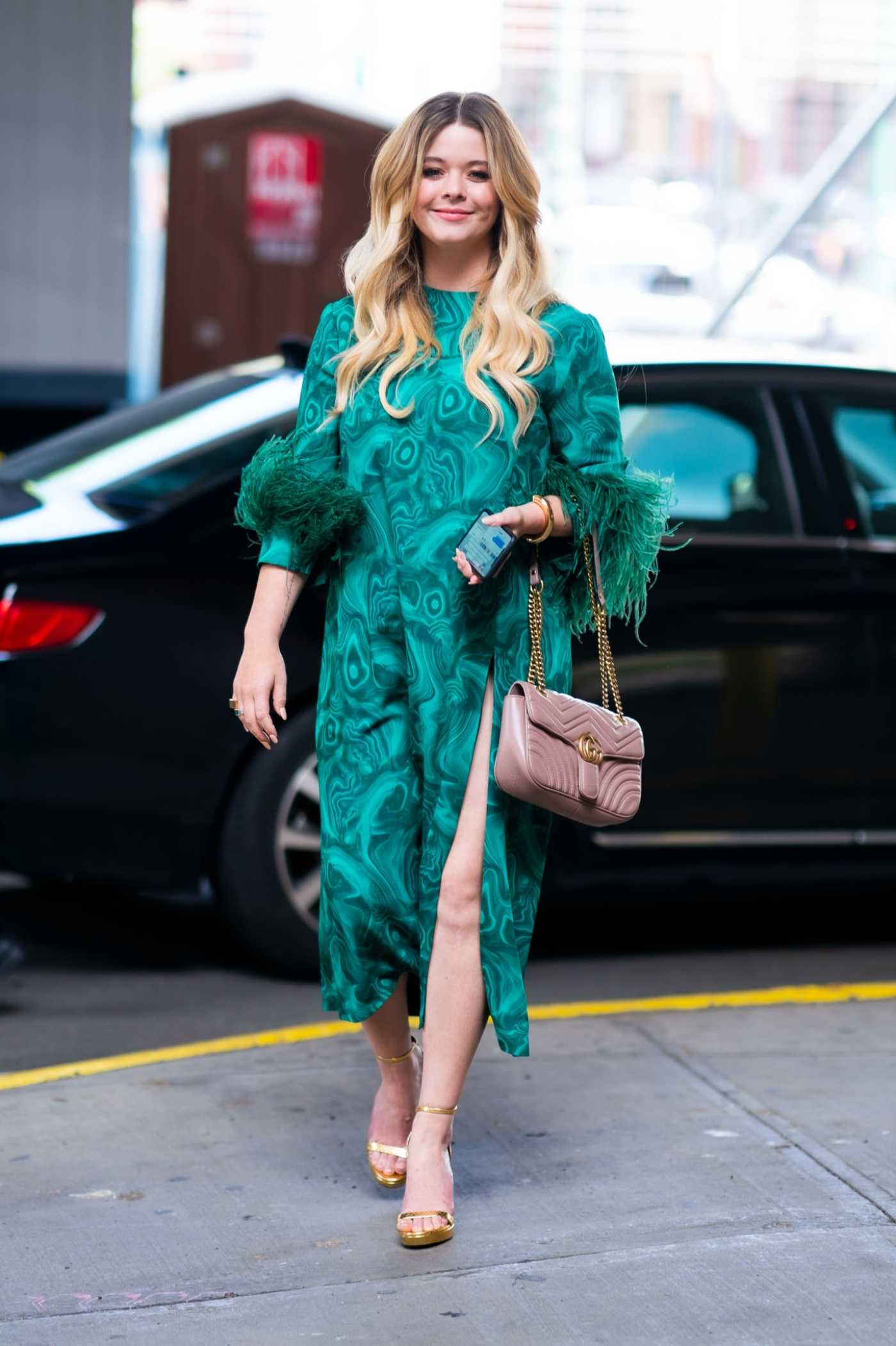 Sasha Pieterse in a Green Dress Attends 2019 POPSUGAR Play/Ground at Pier 94 in Midtown in New York City 06/22/2019