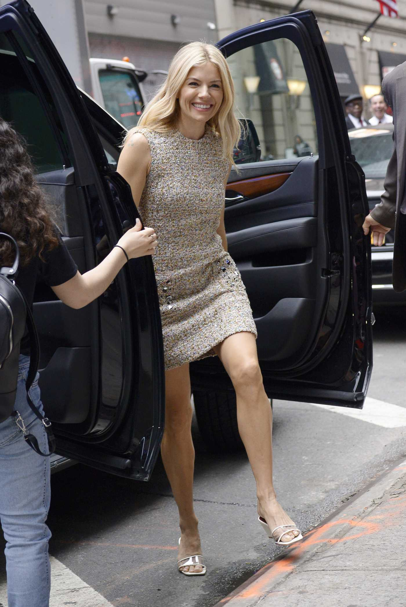 Sienna Miller in a Beige Dress Arrives at the Good Morning America Studios in New York 06/05/2019