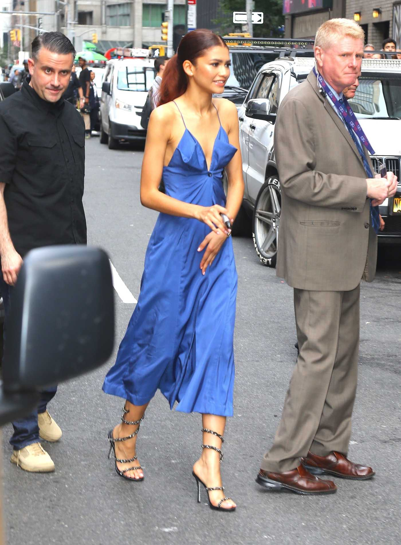 Zendaya in a Bllue Dress Leaves The Late Show with Stephen Colbert in New York 06/25/2019