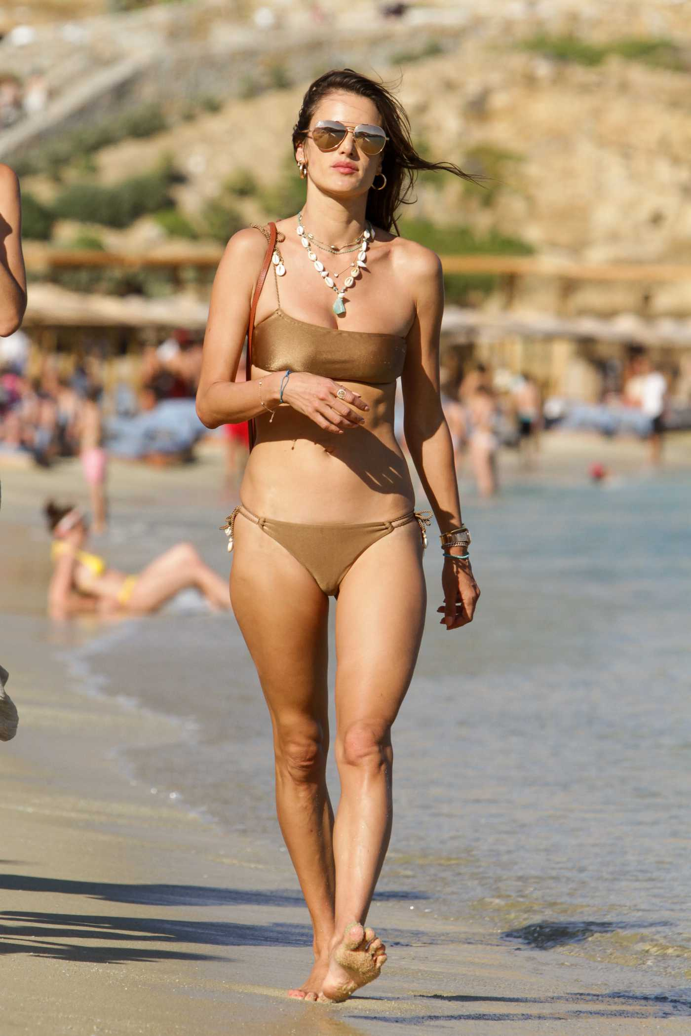 Alessandra Ambrosio in a Beige Bikini on the Beach in Mykonos 07/18/2019