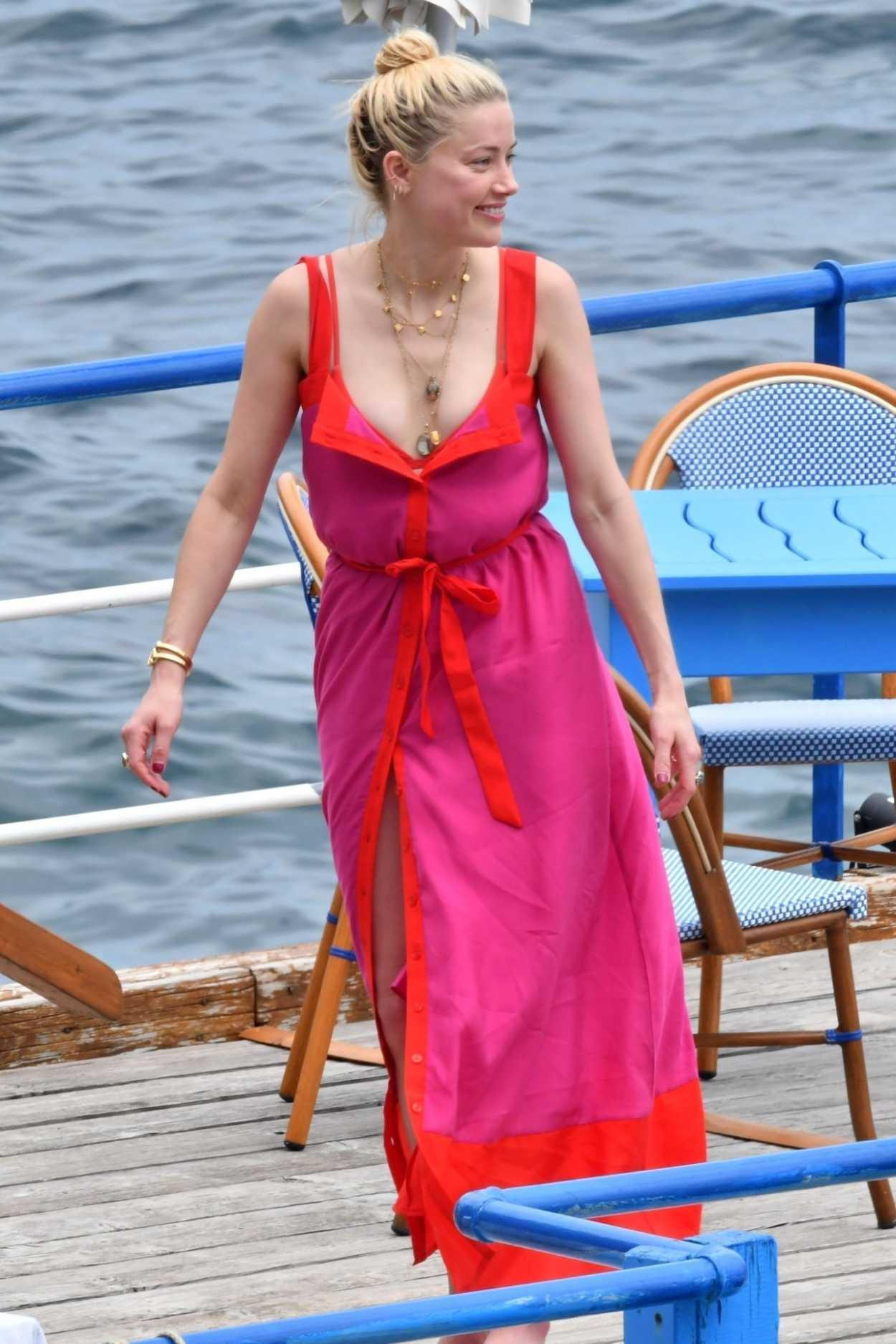 Amber Heard in a Pink Sundress on a Yacht on the Amalfi Coast 07/27/2019