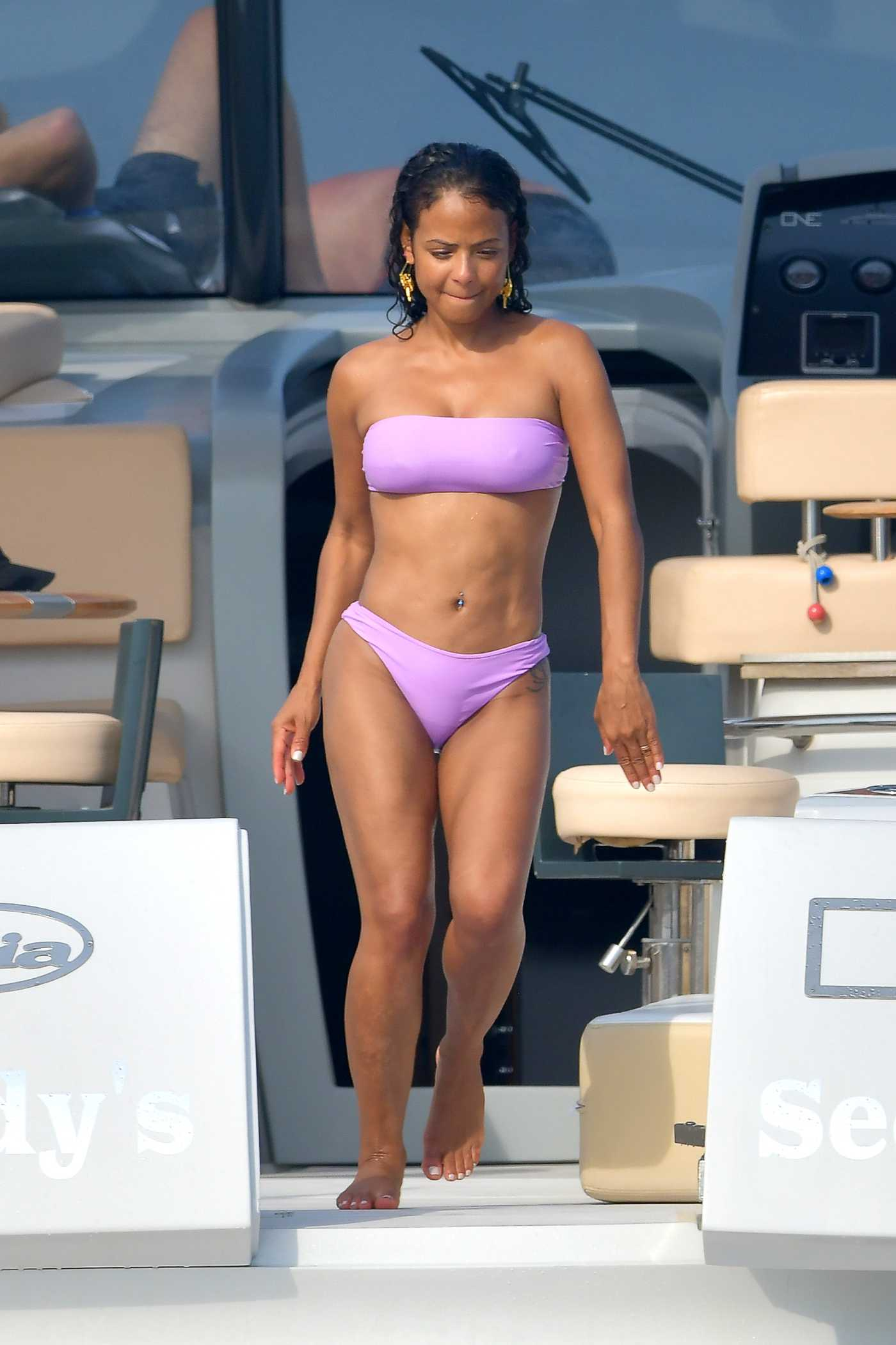 Christina Milian in a Purple Bikini on a Yacht in Saint-Tropez 07/05/2019