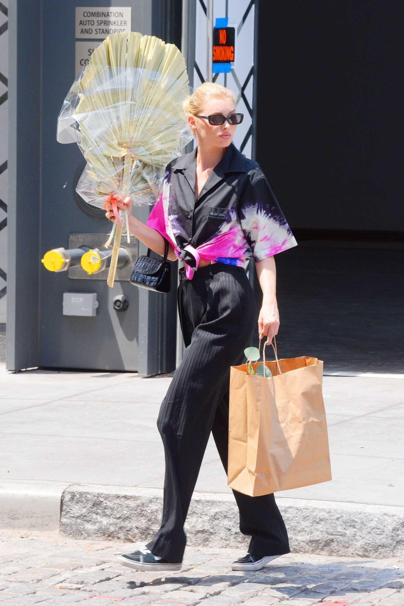 Elsa Hosk in a Black Pants Does a Bit of Flower Shopping in NY 07/29/2019