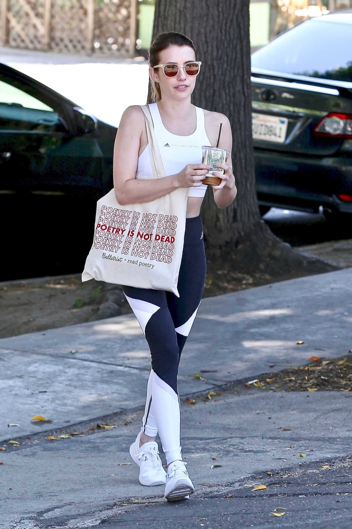 Emma Roberts in a White Top Heads to a Yoga Class in Los Feliz 07/19/2019