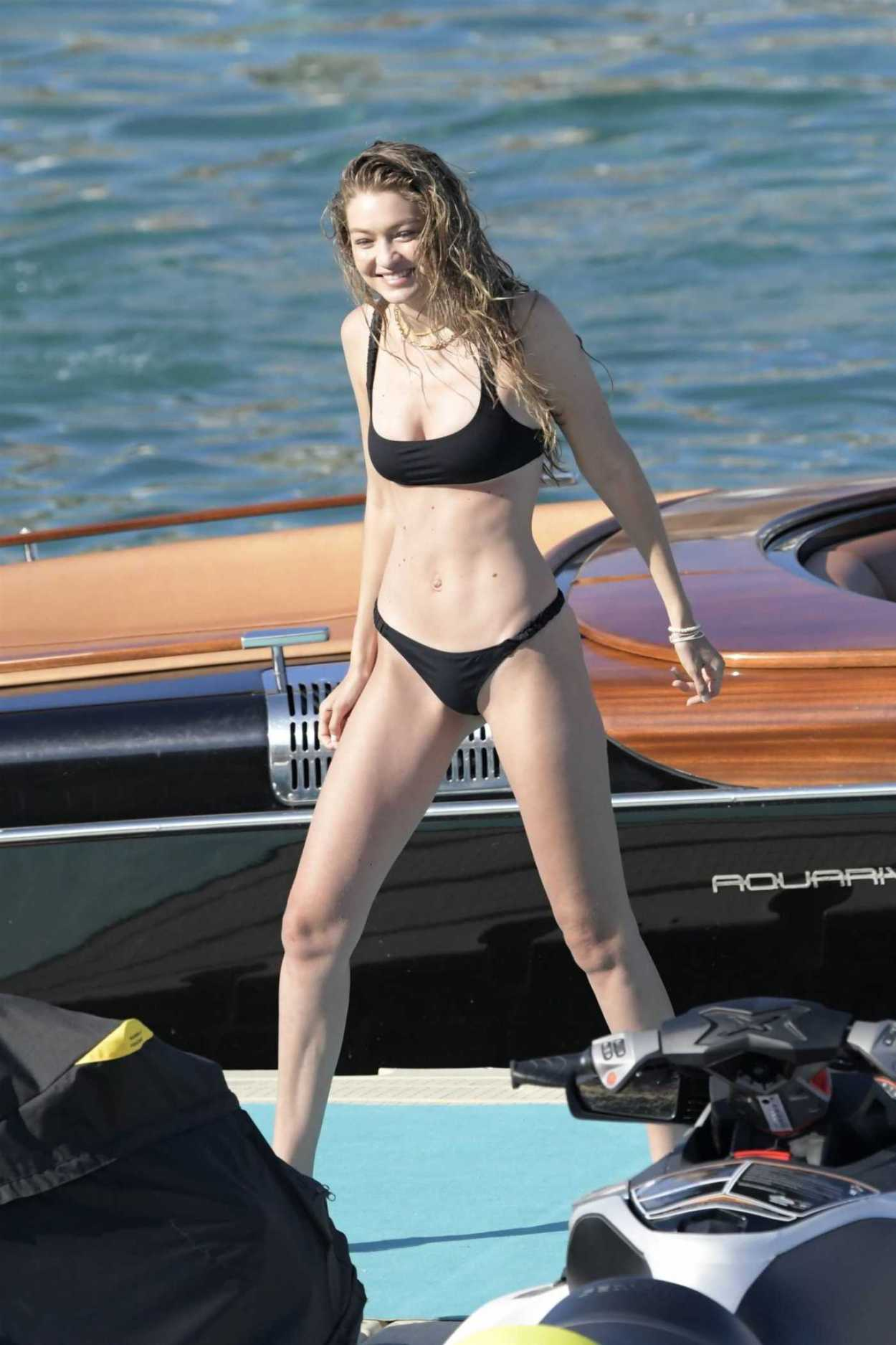 Gigi Hadid in a Black Bikini on the Beach on Mykonos Island 07/30/2019