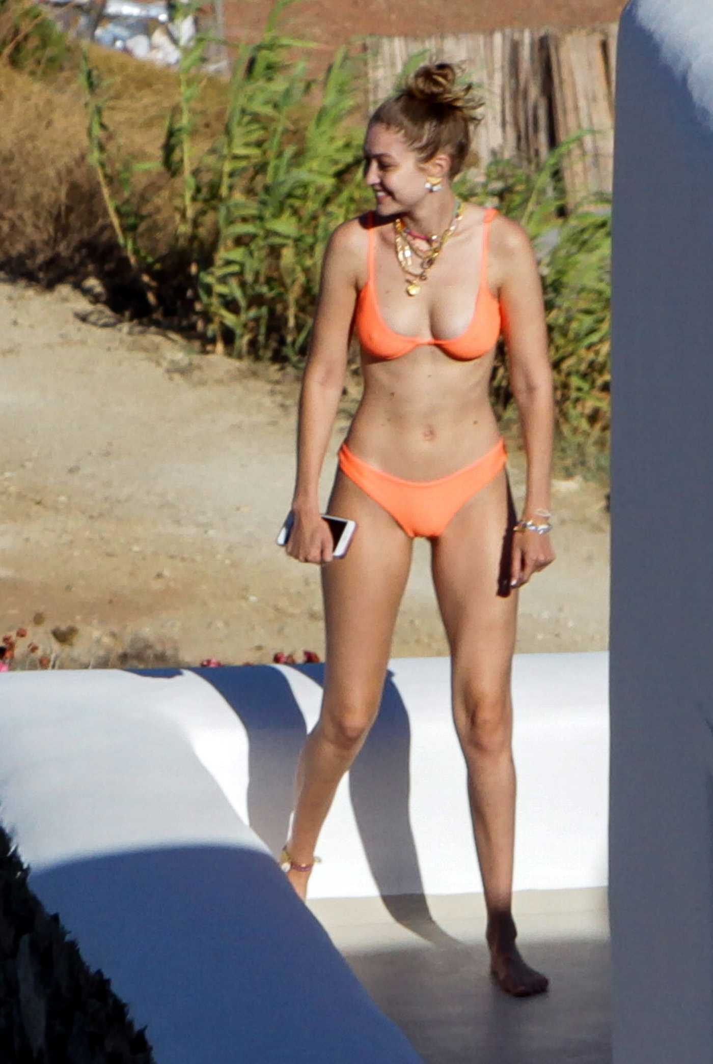 Gigi Hadid in an Orange Bikini on the Beach on Mykonos Island 07/27/2019