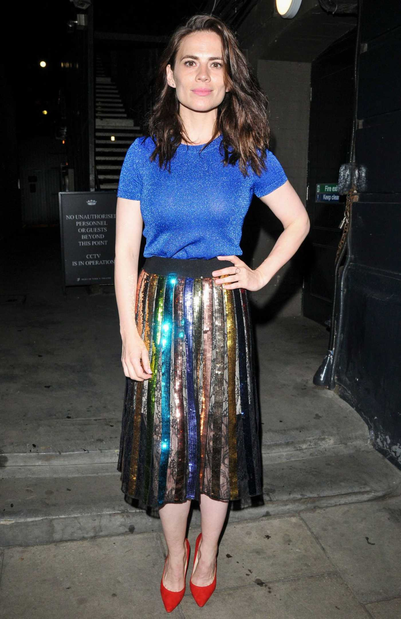 Hayley Atwell in a Blue Tee Night Out in London 07/18/2019