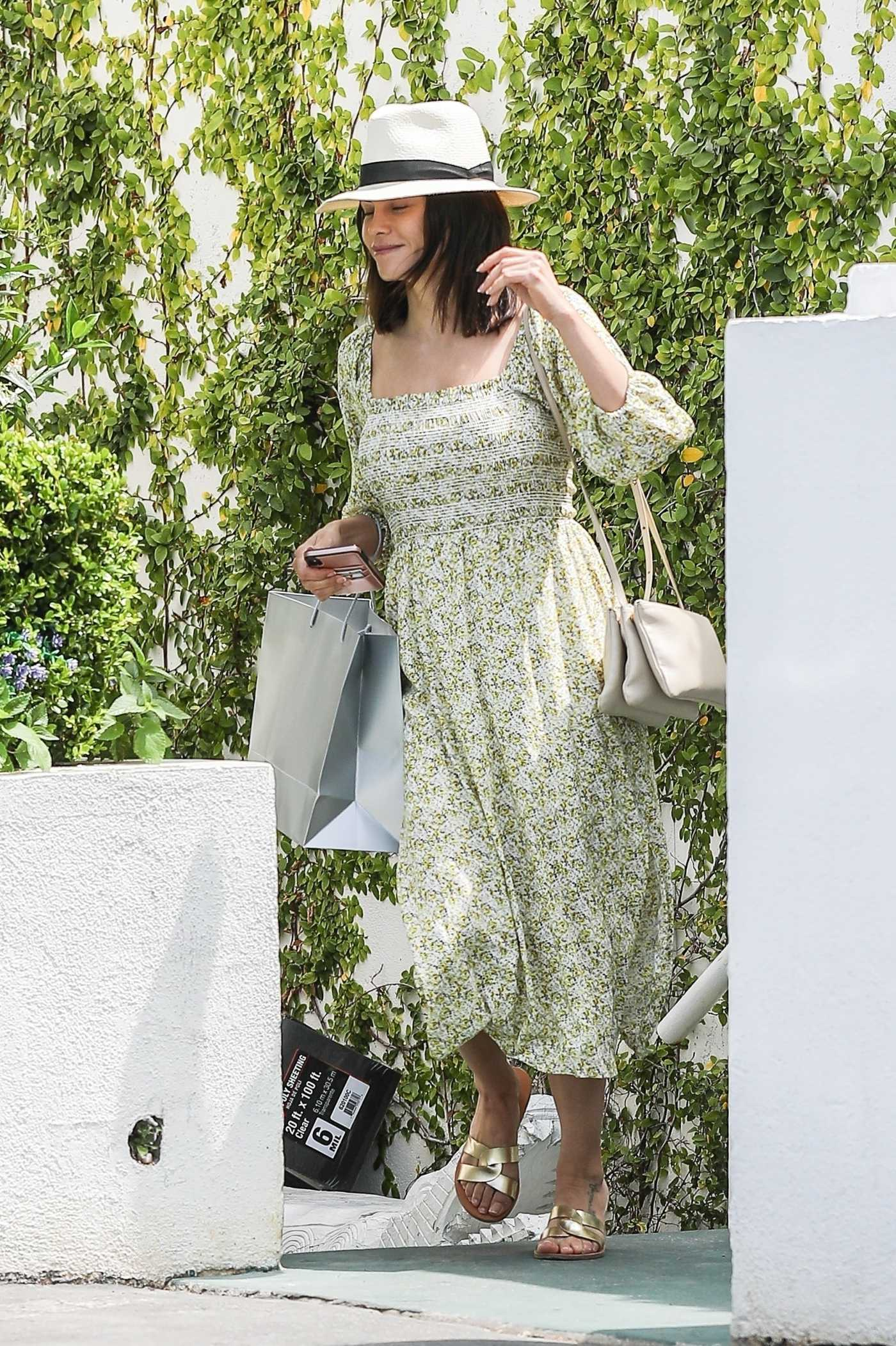 Jenna Dewan in a Green Floral Dress Was Seen Out in Santa Monica 07/06/2019