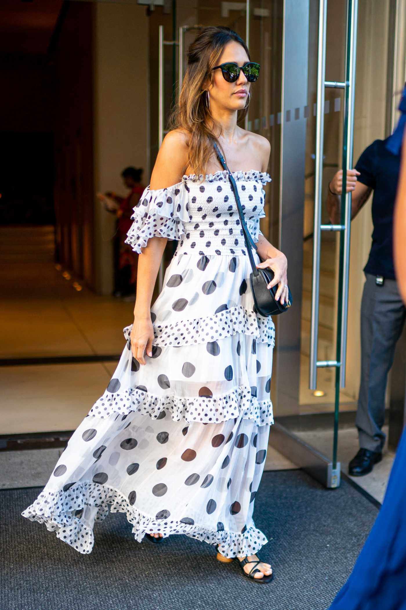Jessica Alba in a White Polka Dot Dress Was Seen Out in New York City 07/15/2019
