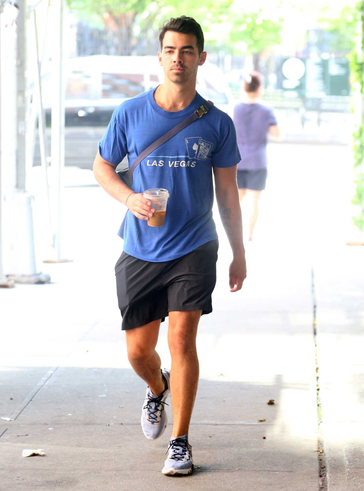 Joe Jonas in a Blue Tee Was Seen Out in New York 07/25/2019