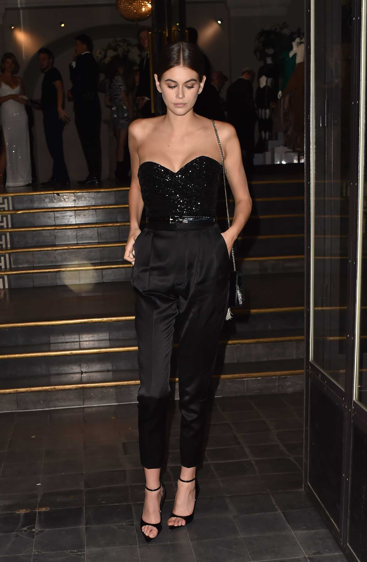 Kaia Gerber in a Black Pants Arrives at the Vogue Party During 2019 Paris Fashion Week in Paris 07/02/2019