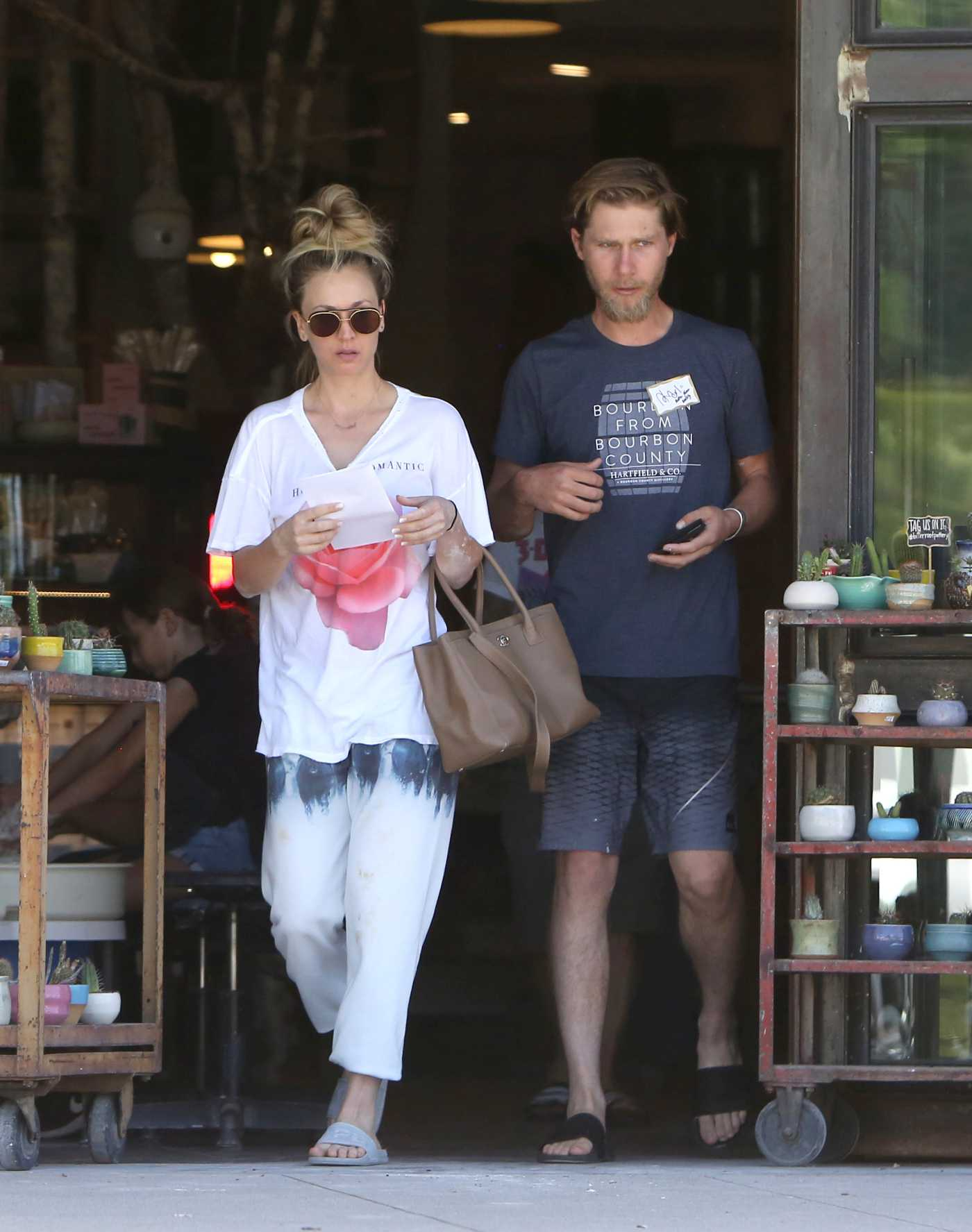 Kaley Cuoco in a White Tee Was Seen Out with Karl Cook in Los Angeles 06/30/2019
