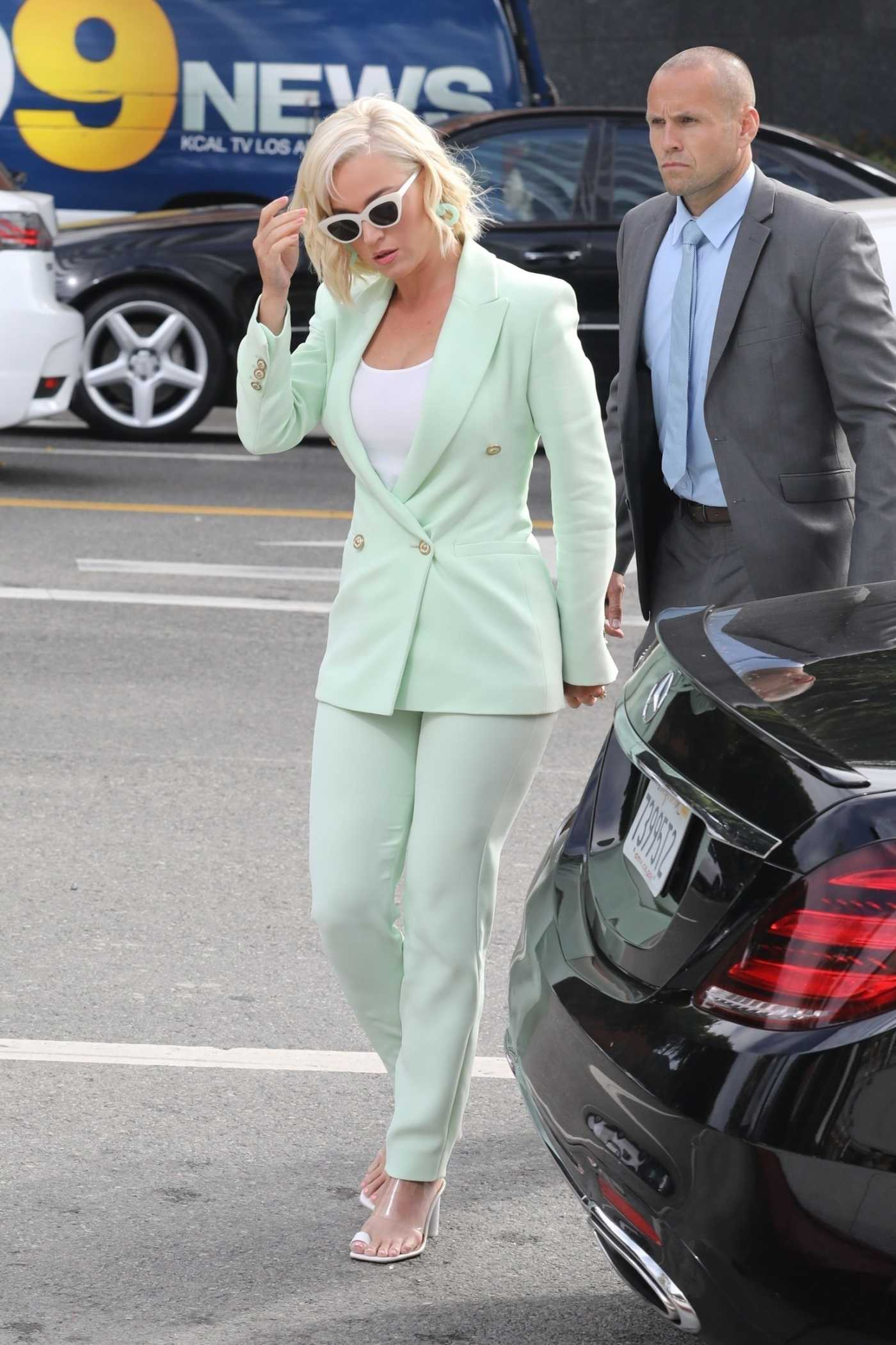 Katy Perry in a Green Suit Was Seen Out in Los Angeles 07/18/2019