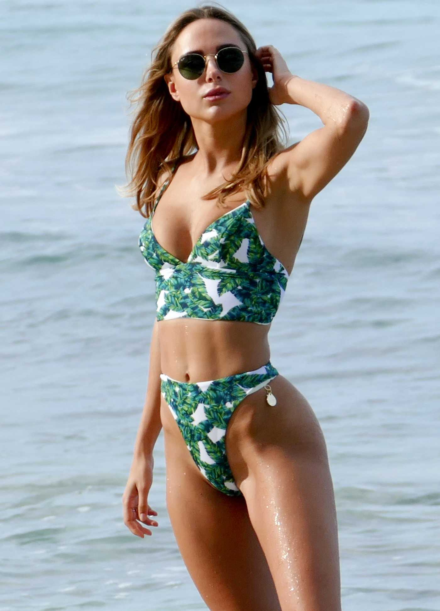 Kimberley Garner in a Green Bikini on the Beach in St Tropez 07/24/2019