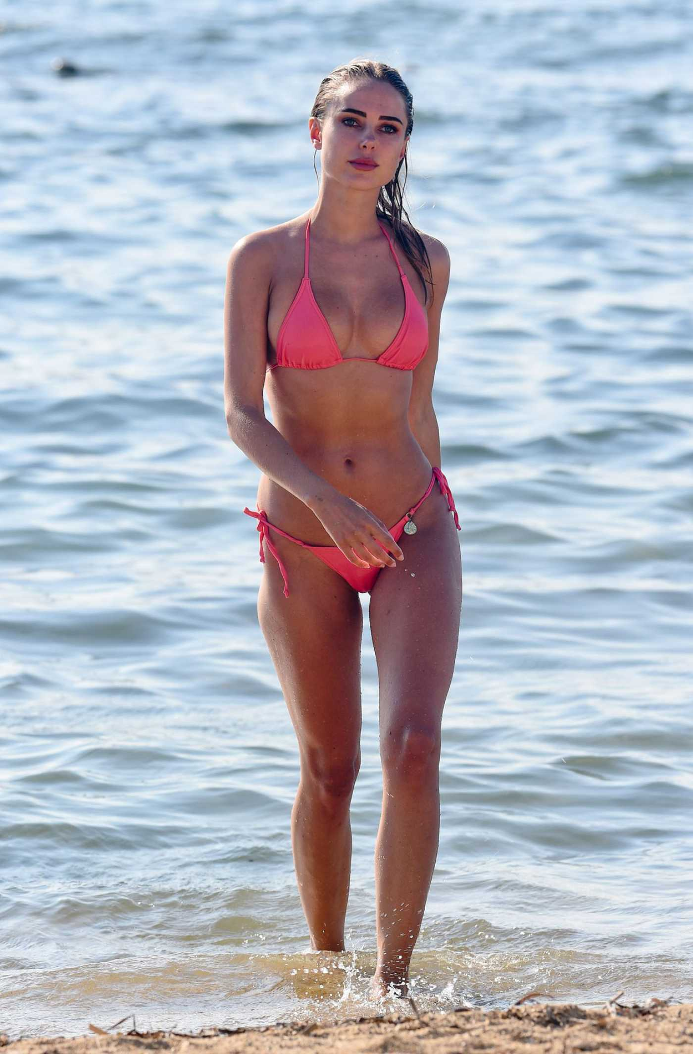 Kimberley Garner in a Pink Bikini on the Beach in St Tropez 07/22/2019