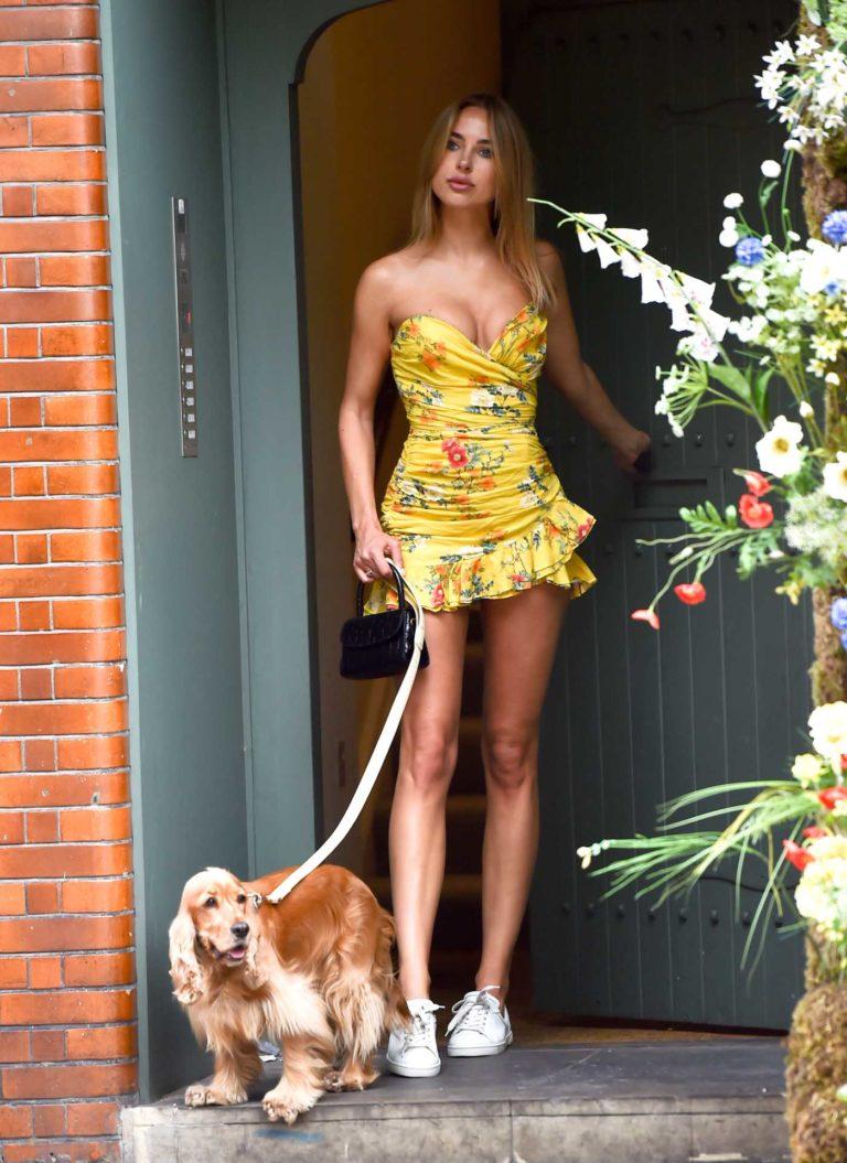 Kimberley Garner in a Short Yellow Summer Dress