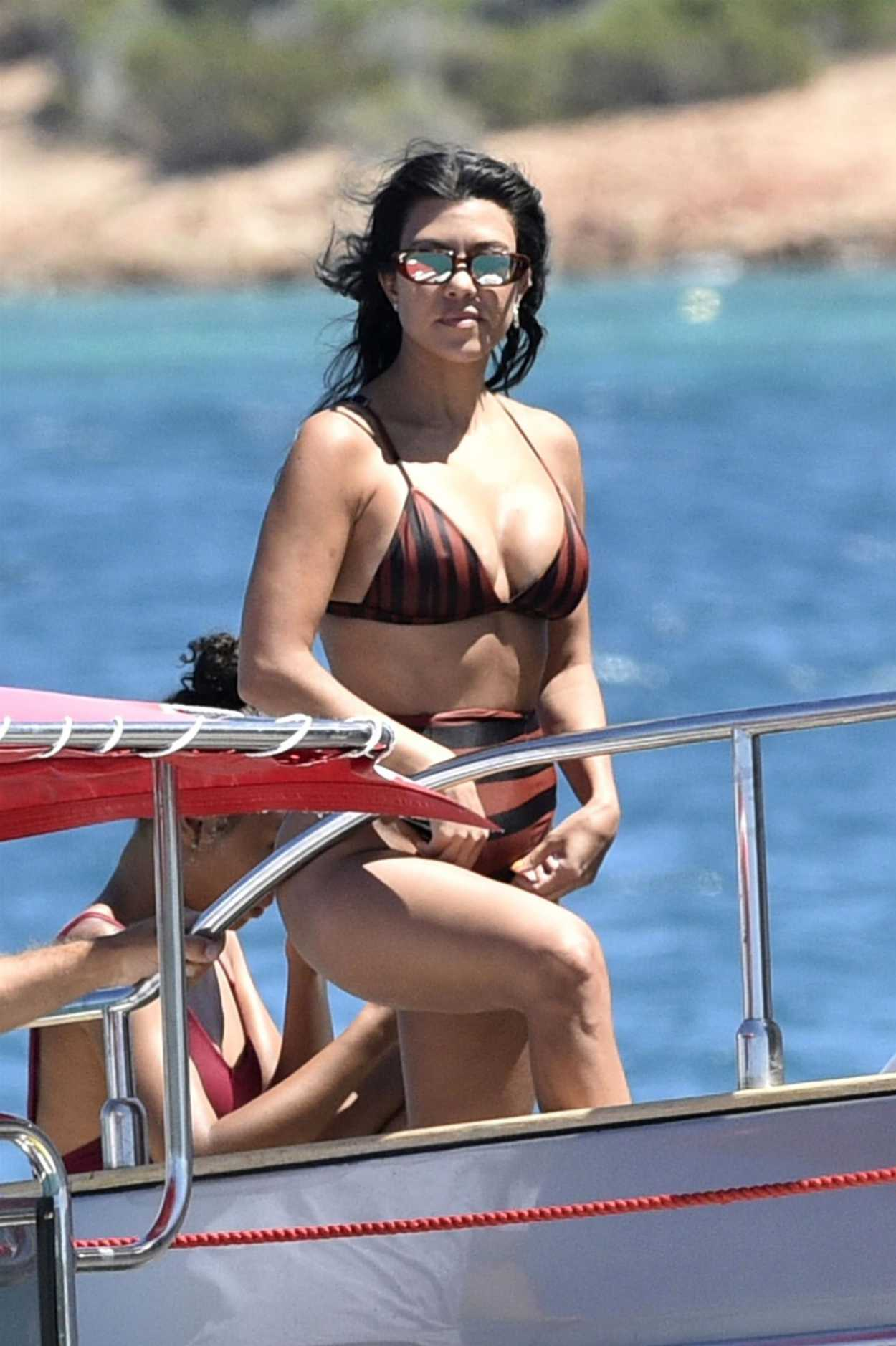 Kourtney Kardashian in Bikini on on a Yacht in Sardinia 07/30/2019