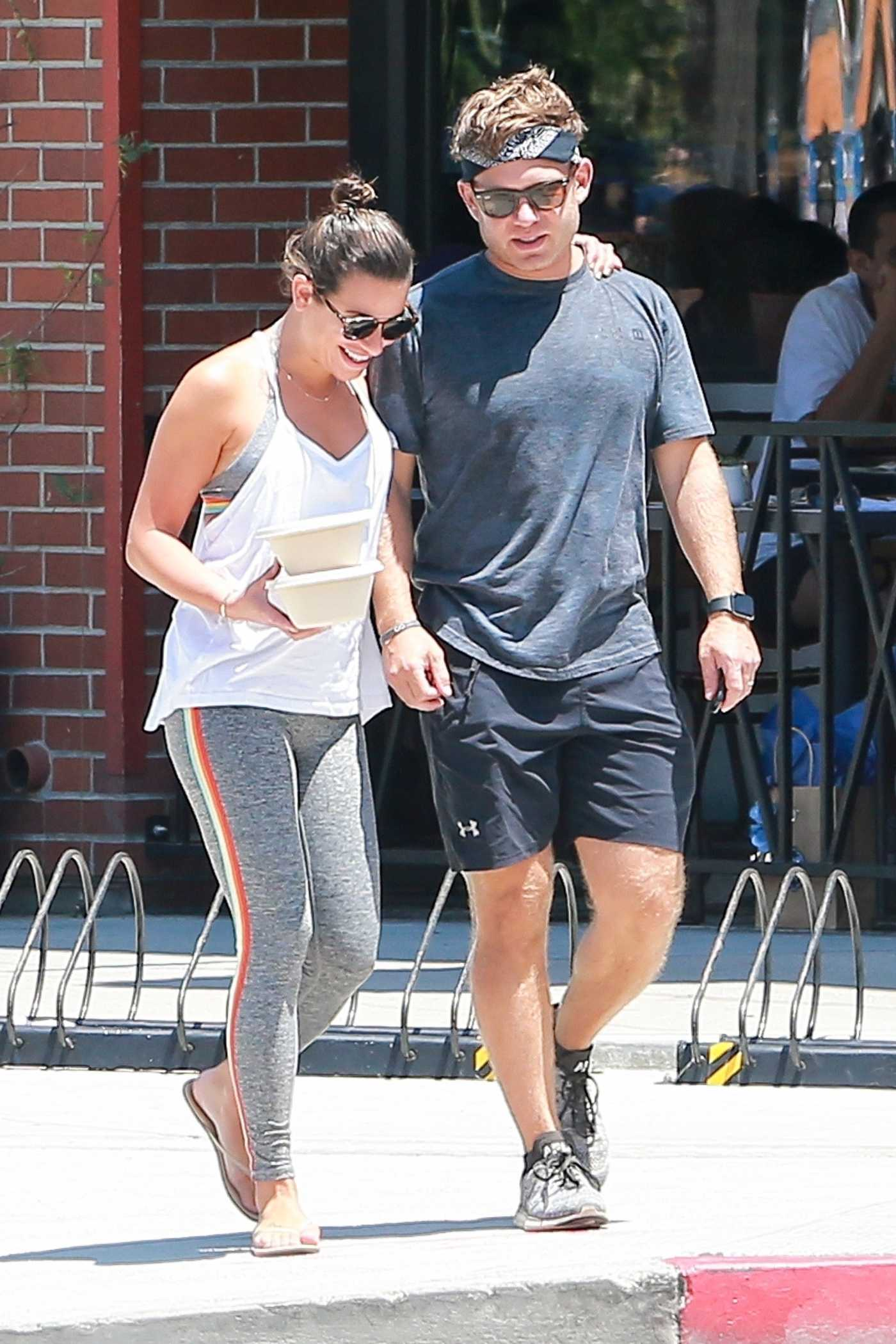 Lea Michele in a White Tank Top Grabs Lunch at Cafe Gratitude Out with her husband in Venice Beach 07/20/2019