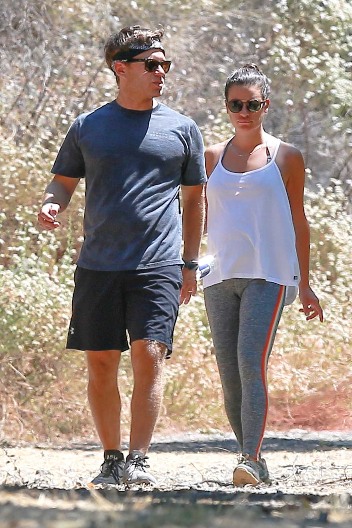 Lea Michele in a White Tank Top Was Seen Out with Her Husband in Santa Monica 07/25/2019