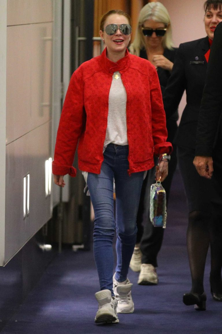 Lindsay Lohan in a Red Jacket