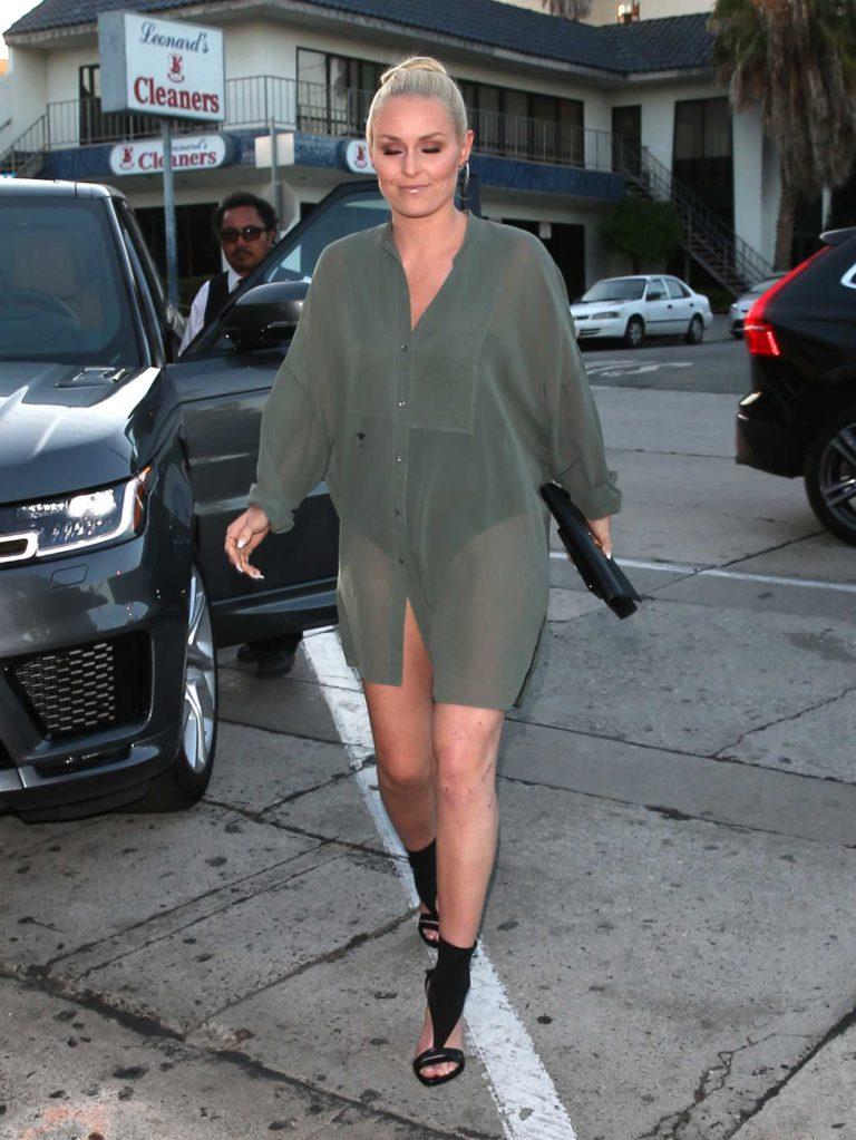 Lindsey Vonn in a Short Green Dress