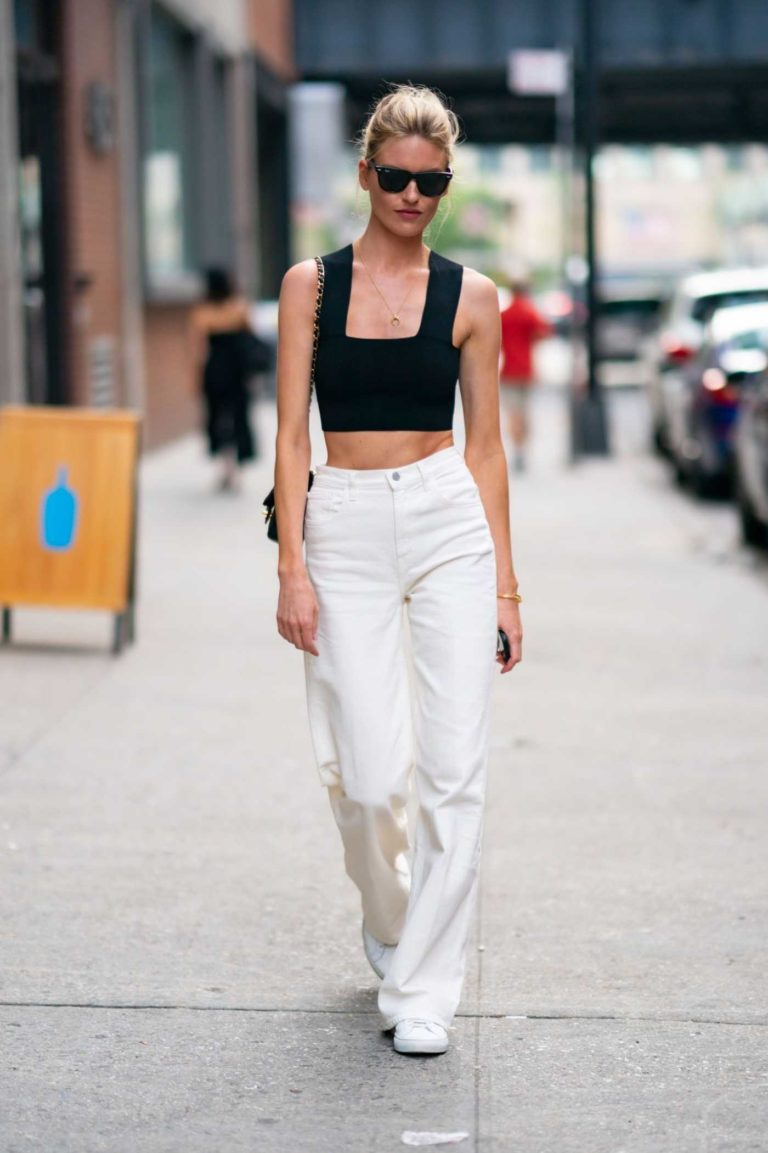 Martha Hunt in a White Pants
