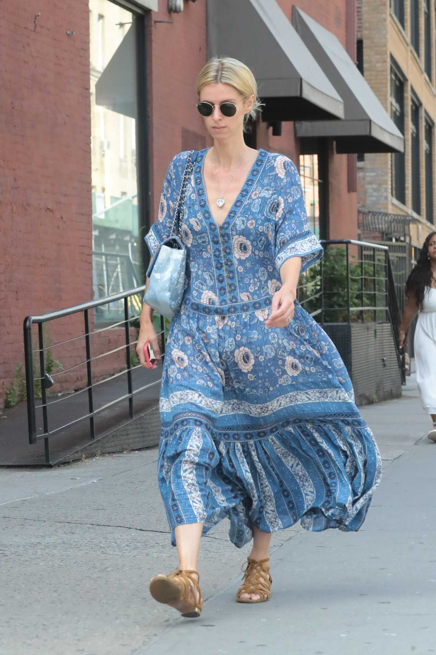 Nicky Hilton in a Blue Floral Dress Was Seen Out in New York 07/12/2019