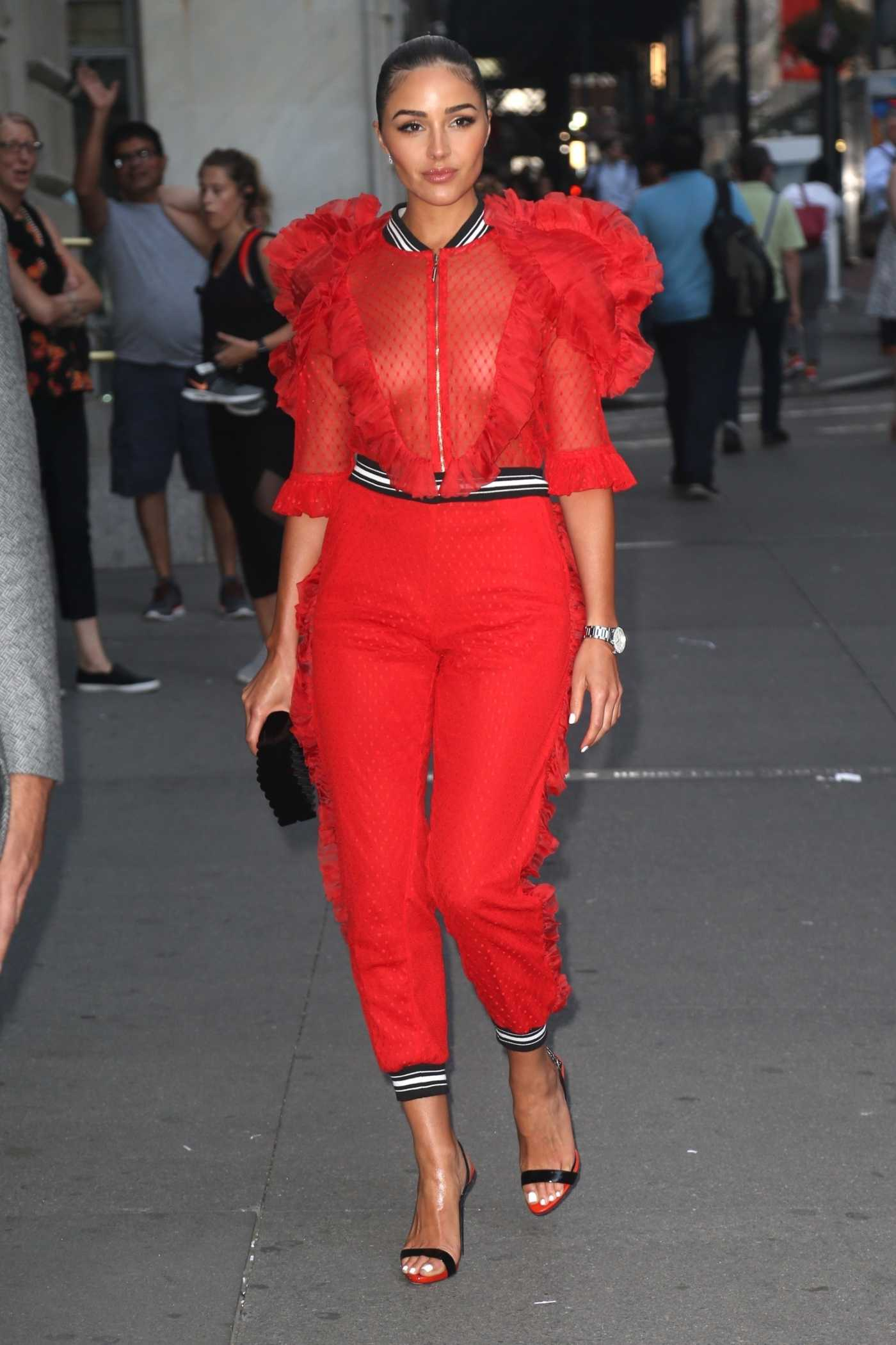 Olivia Culpo in a Red Suit Arrives at the Tag Heuer Event in New York 07/10/2019