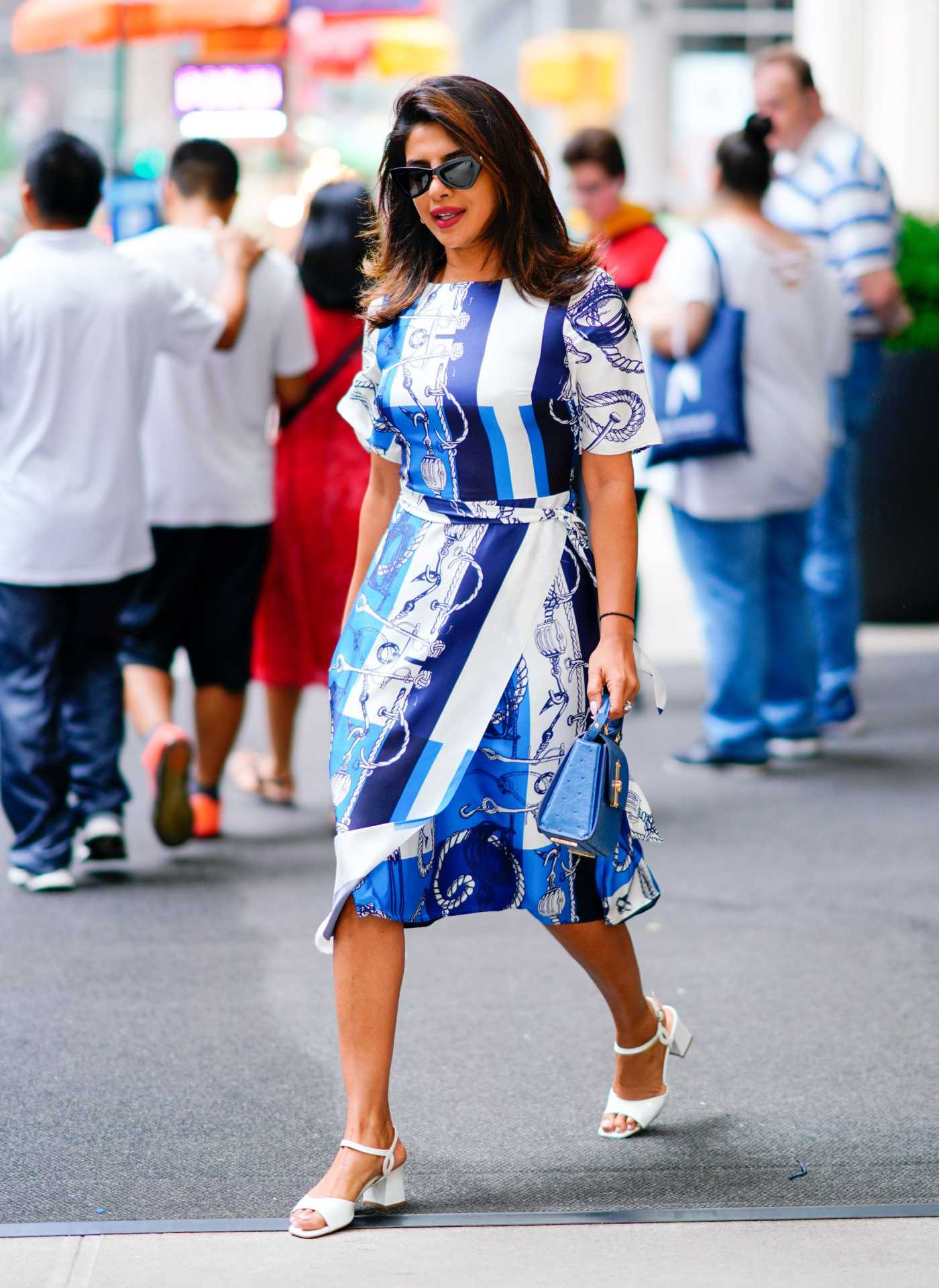 Priyanka Chopra in a Blue and White Dress Was Seen Out in NY 07/23/2019