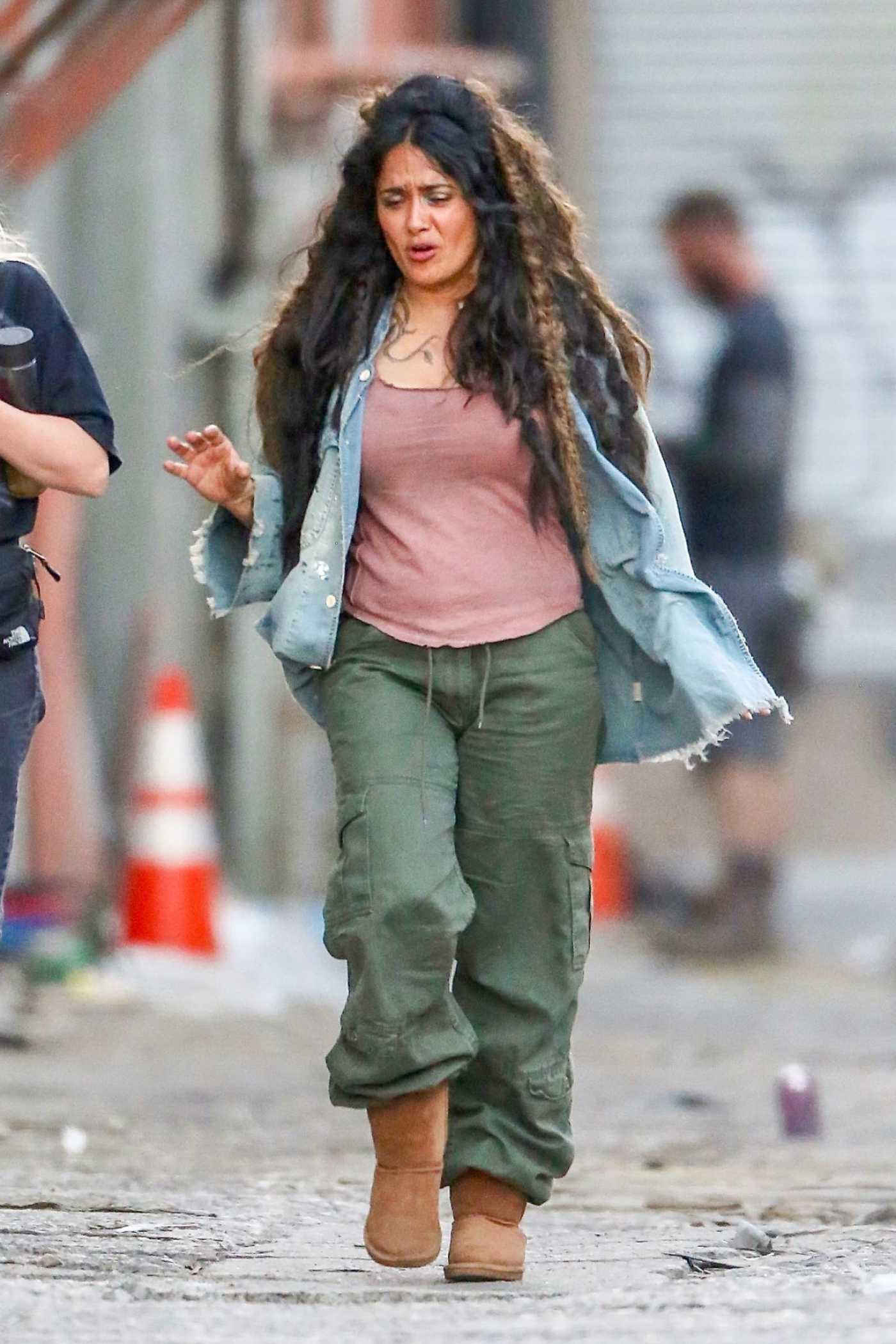 Salma Hayek in a Green Pants on the Set of the Bliss in LA 07/02/2019