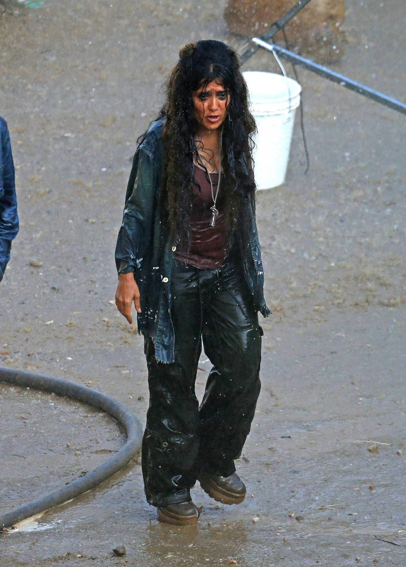Salma Hayek on the Set of Sci-Fi Thriller Bliss in Los Angeles 06/27/2019