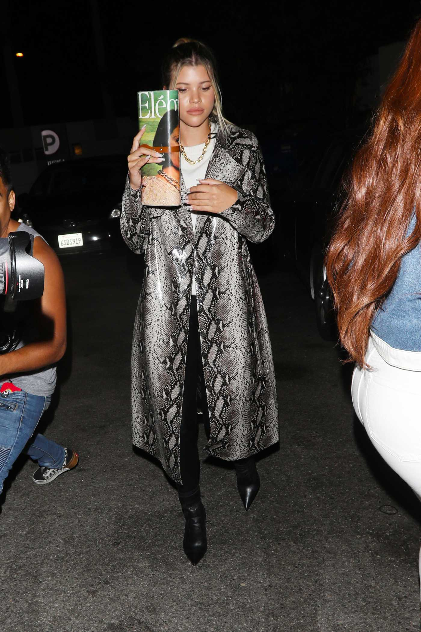 Sofia Richie in a Sheepskin Coat Leaves the Nice Guy Night Club in Los Angeles 07/27/2019