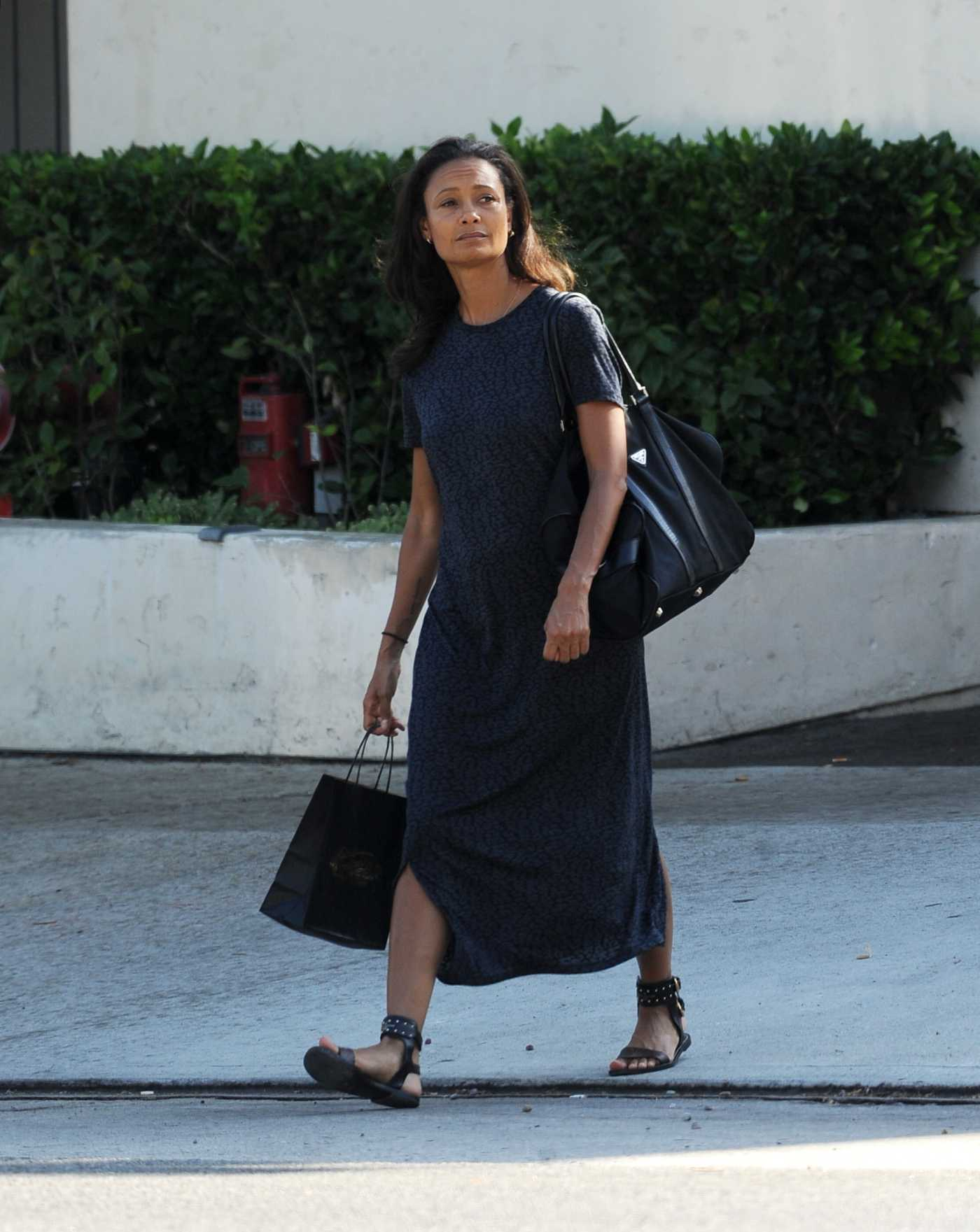 Thandie Newton in a Blue Dress Was Seen Out in Los Angeles 07/26/2019
