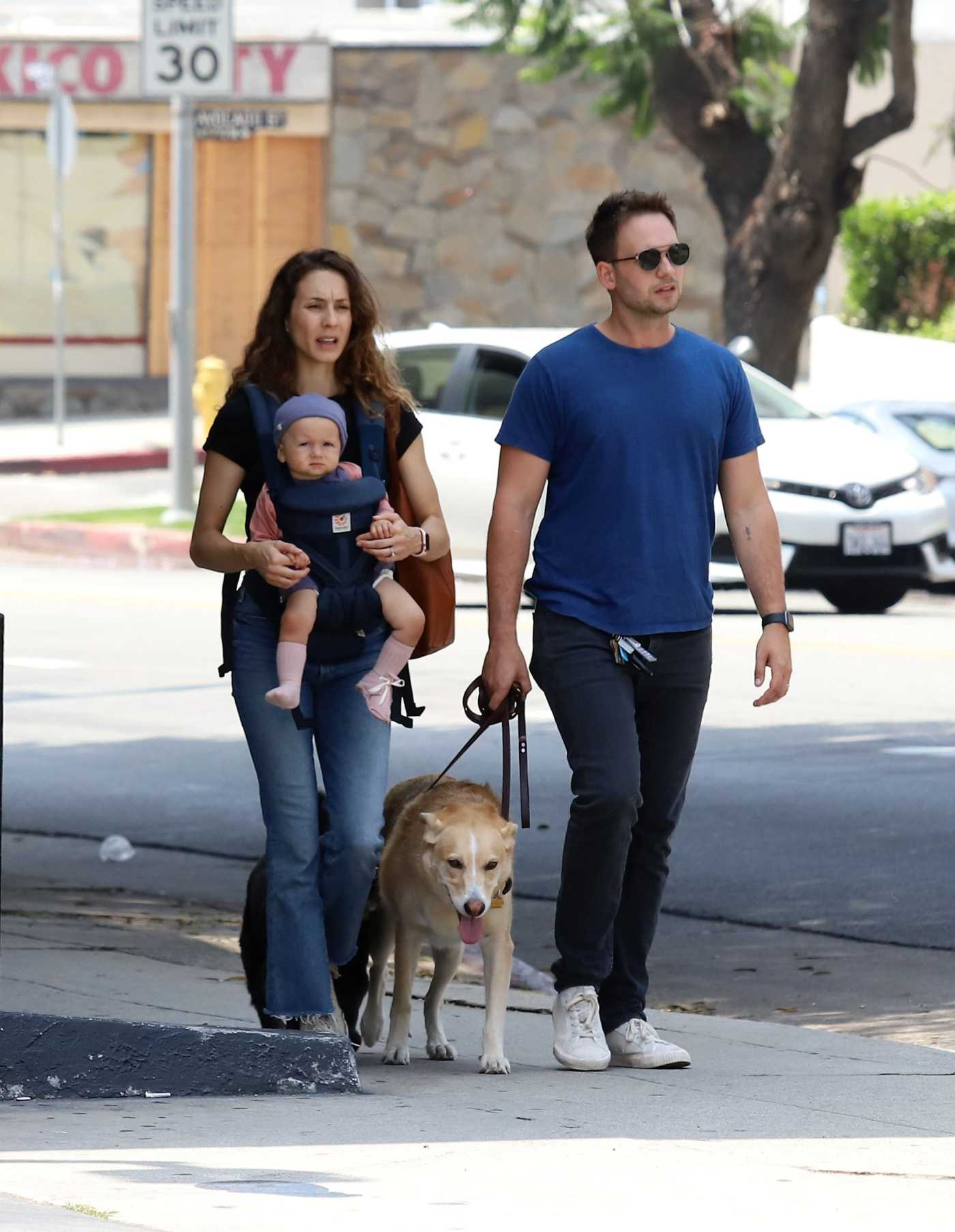 Troian Bellisario Walks Her Dogs Out with Patrick J. Adams in LA 07/05/2019