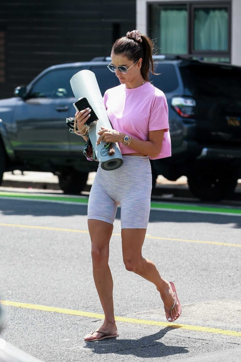 Alessandra Ambrosio in a Pink Tee