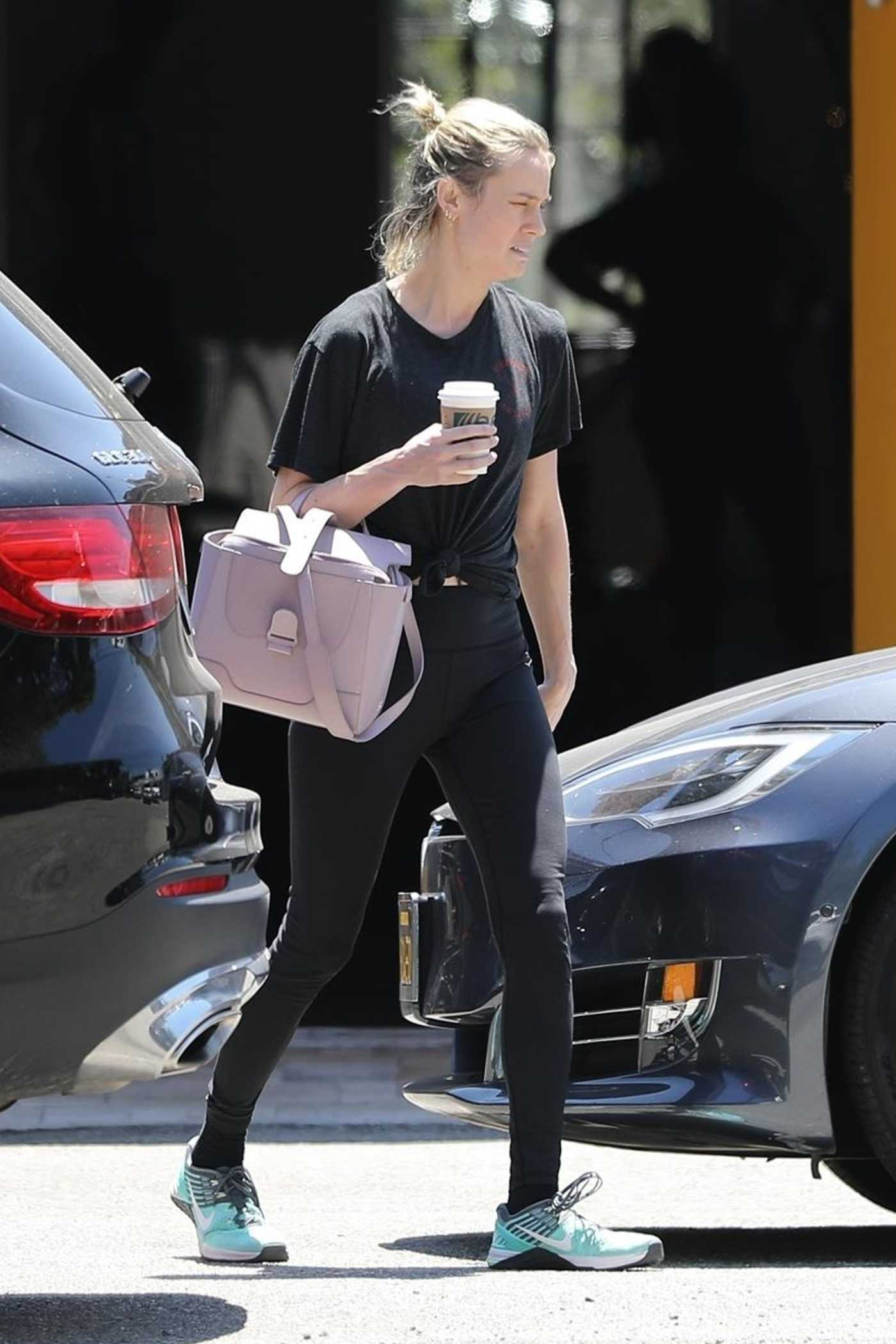 Brie Larson in a Black Tee Was Seen Out in LA 08/01/2019