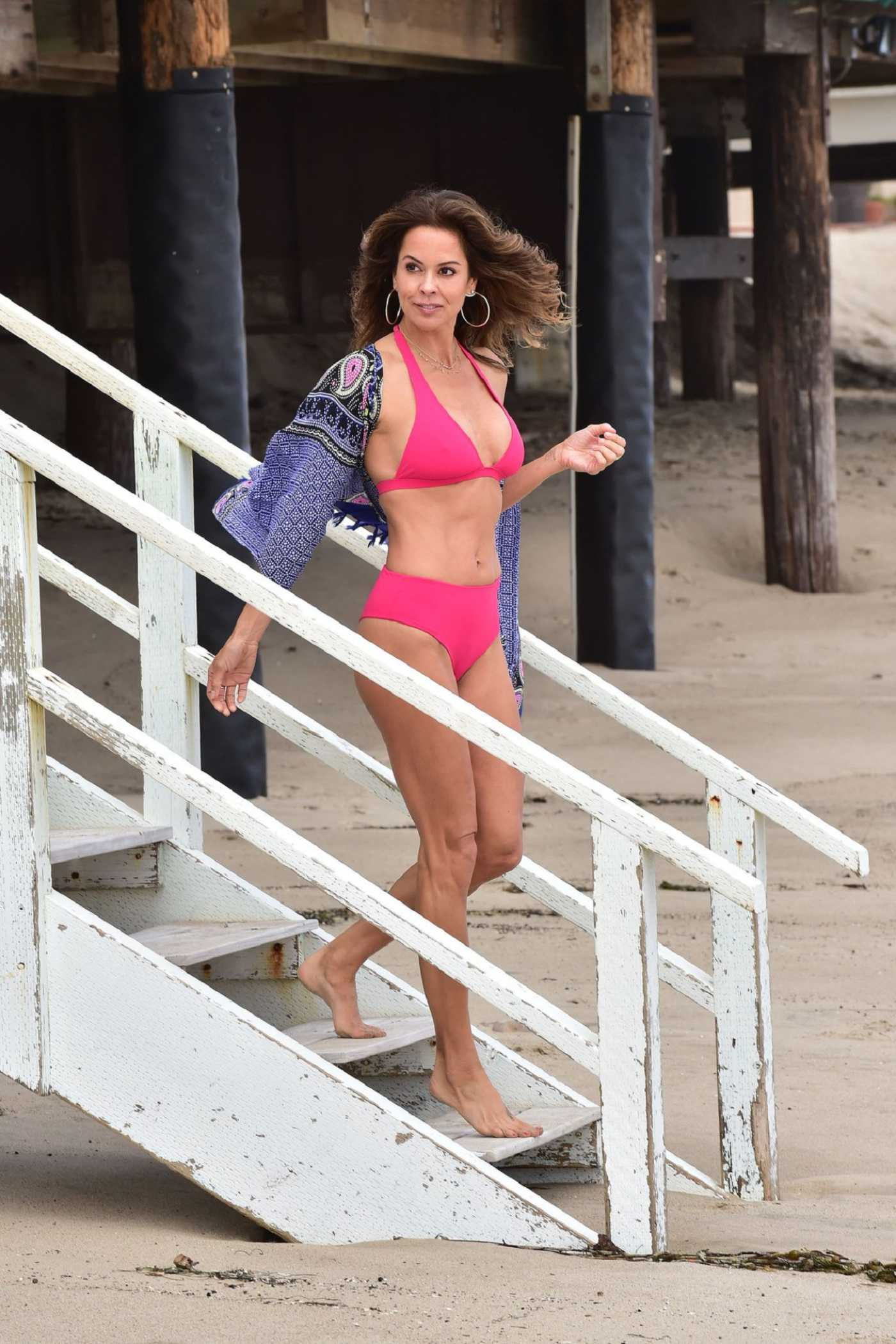 Brooke Burke in a Pink Bikini on the Beach in Malibu 08/07/2019