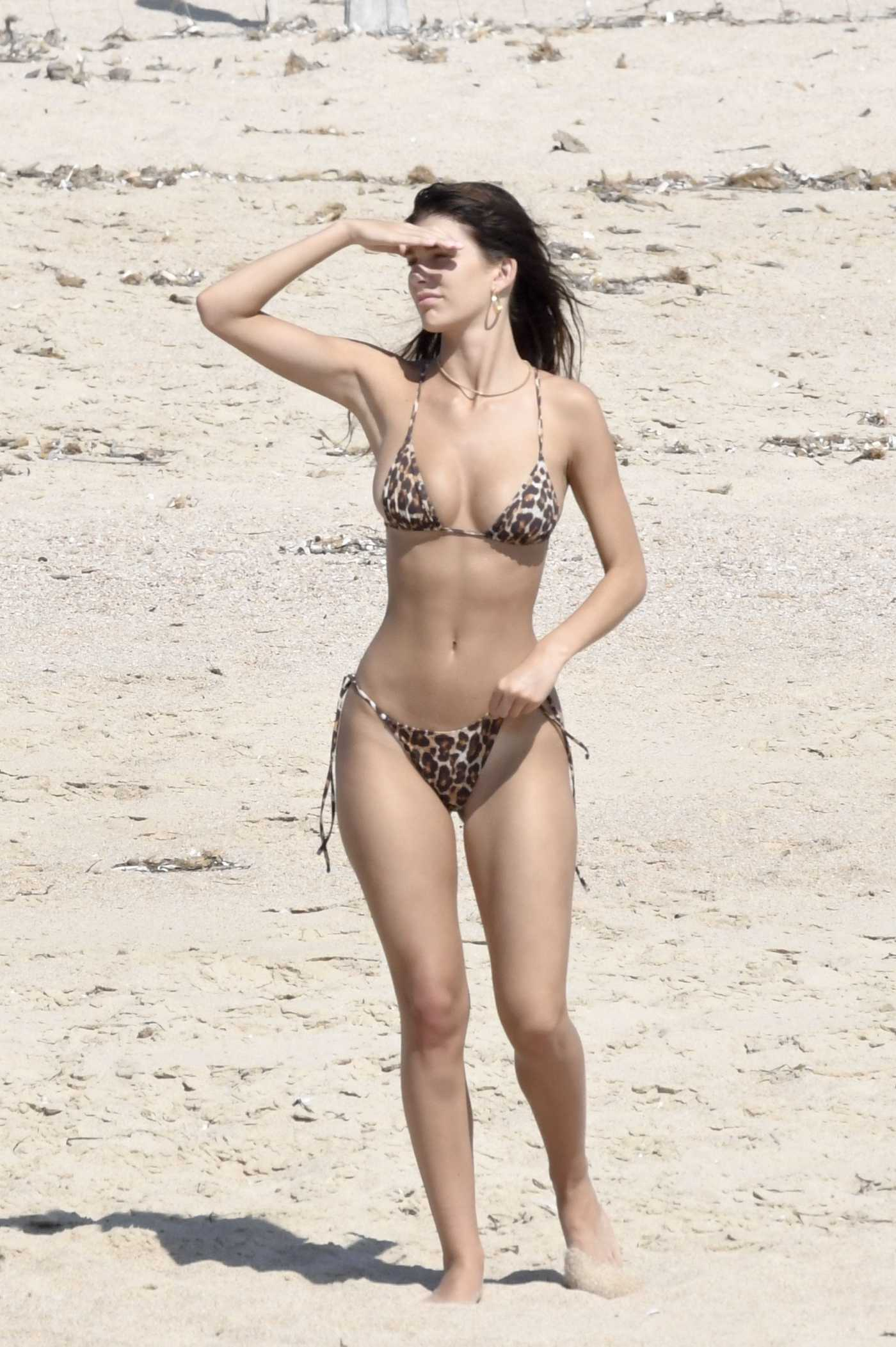 Camila Morrone in a Leopard Print Bikini Was Seen Out with Leonardo DiCaprio on the Beach in Corsica 08/08/2019