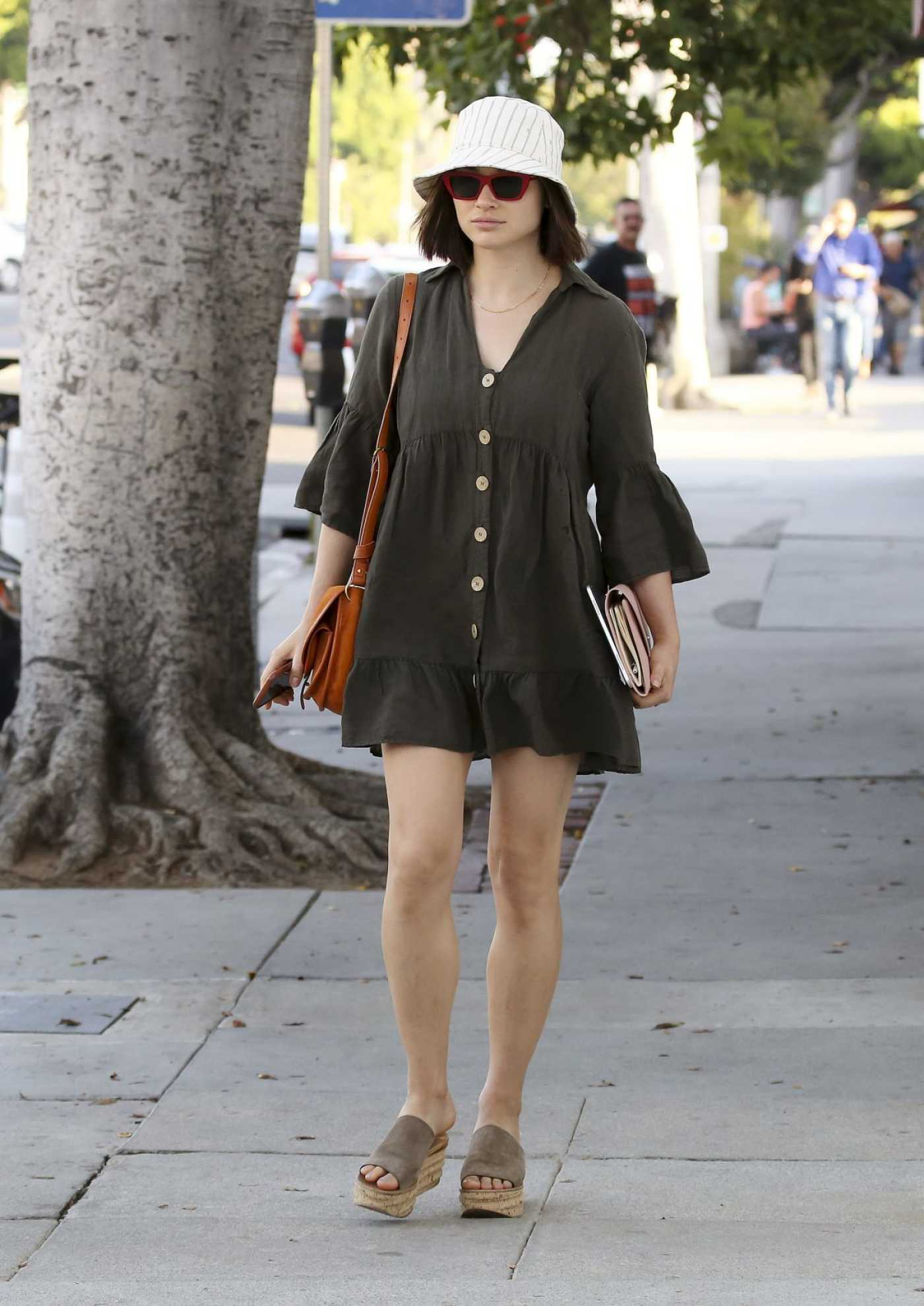 Crystal Reed in a Short Olive Dress Was Seen Out in Los Angeles 07/30/2019
