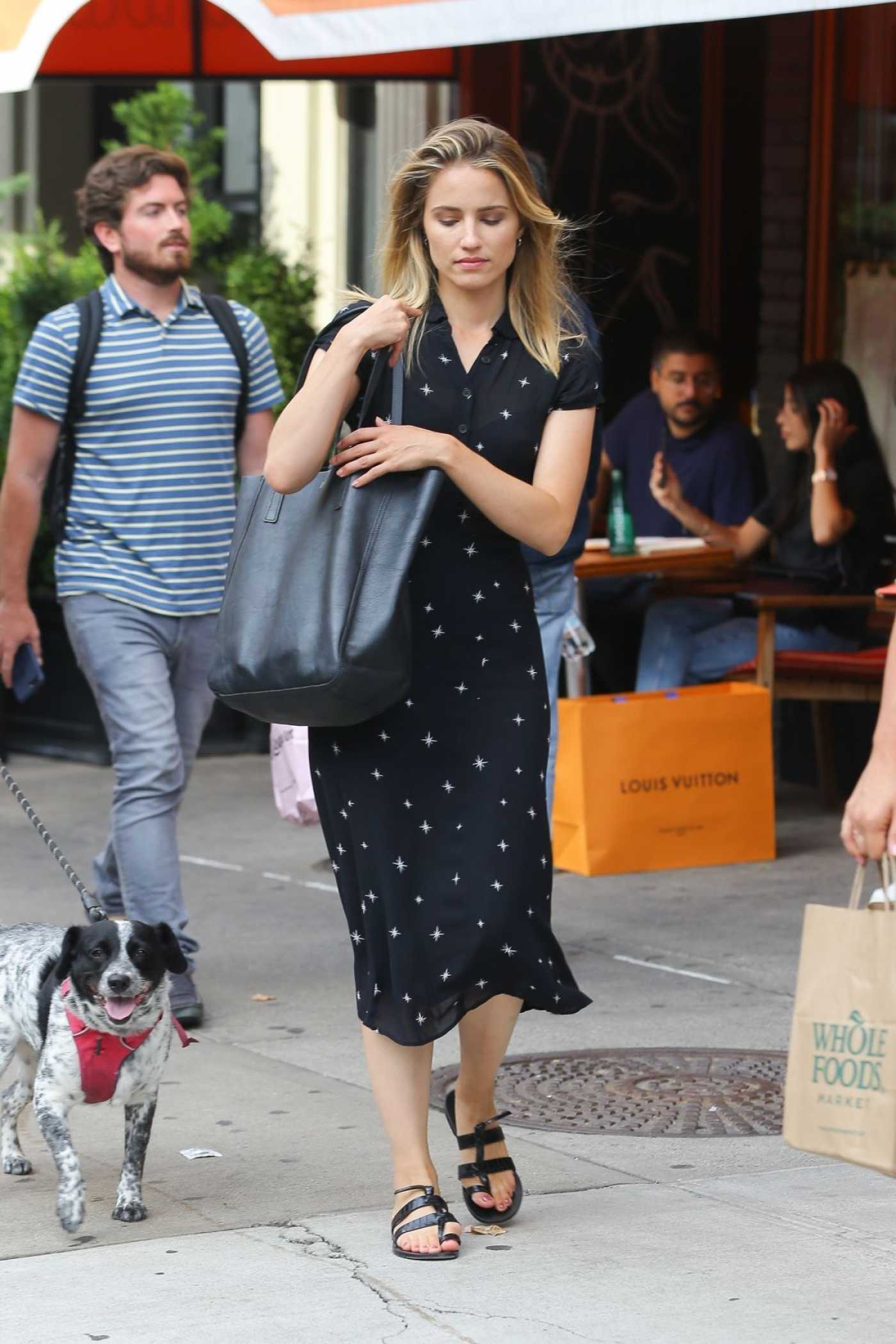 Dianna Agron in a Black Dress Was Seen Out in New York 08/16/2019