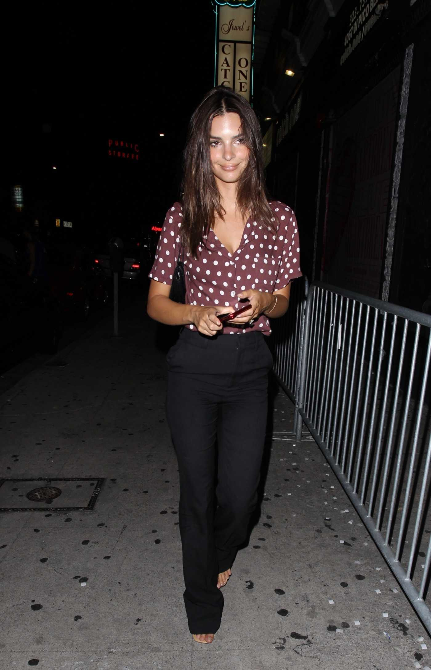 Emily Ratajkowski in a Black Pants Arrives at Mark Ronson's Club Heartbreak in Los Angeles 08/15/2019