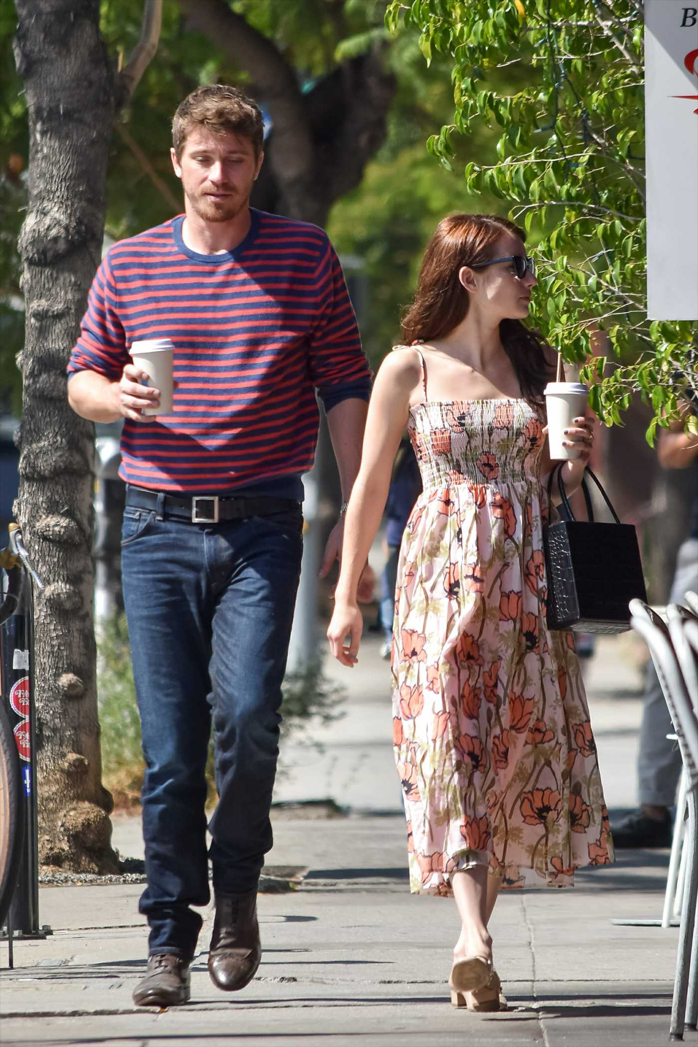 Emma Roberts in a Floral Dress Was Seen Out with Evan Peters  in Los Angeles 07/31/2019