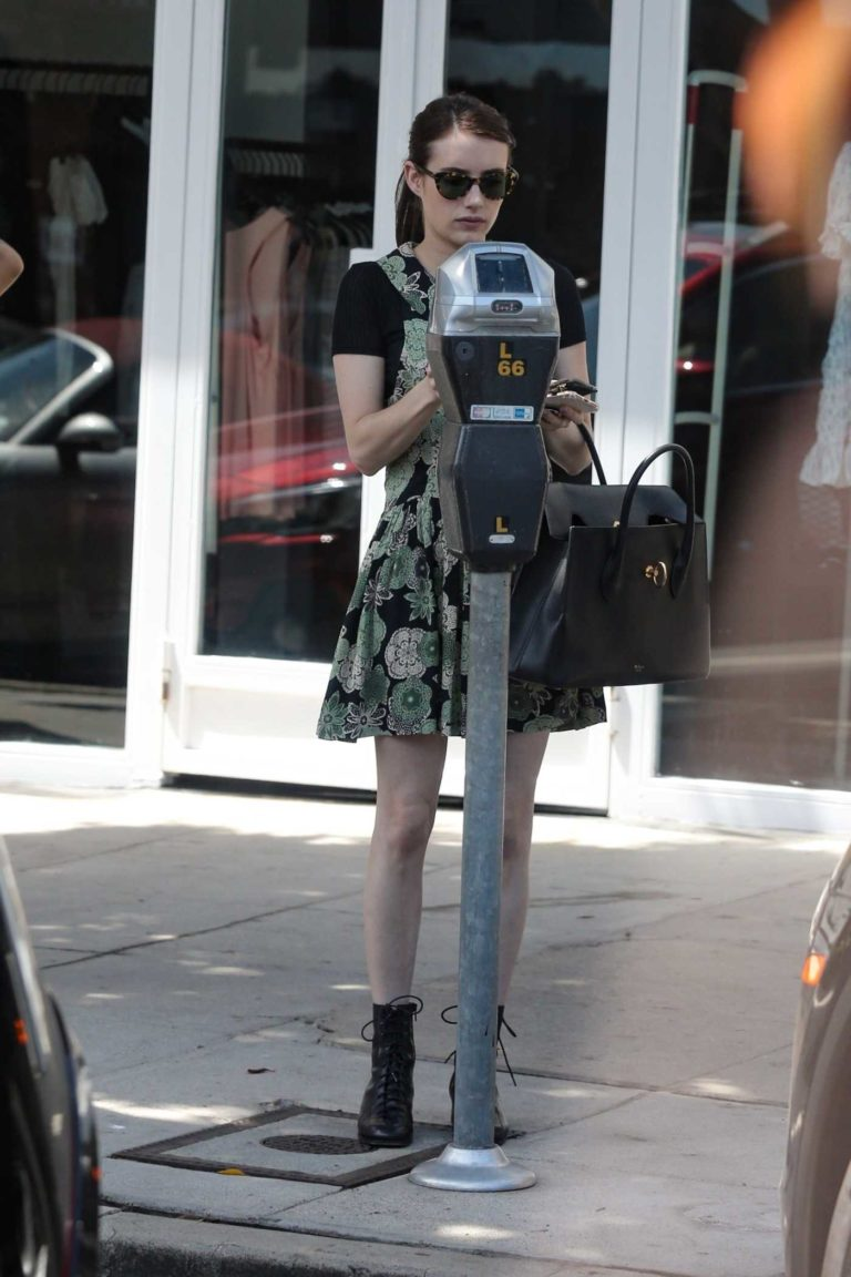Emma Roberts in a Green Floral Dress