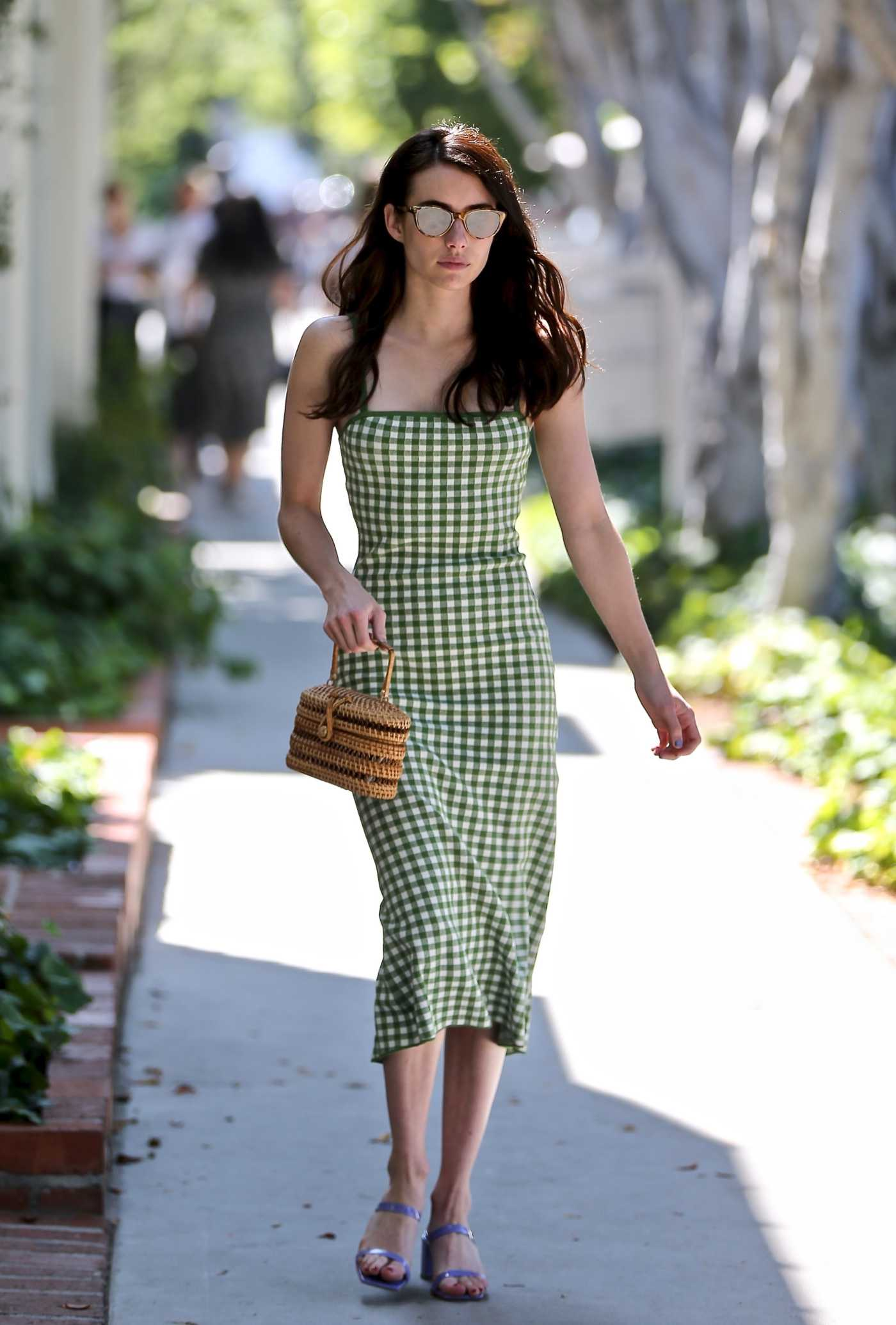 Emma Roberts in a Green Plaid Dress Visits Kate Somerville on Melrose Place in West Hollywood 08/16/2019