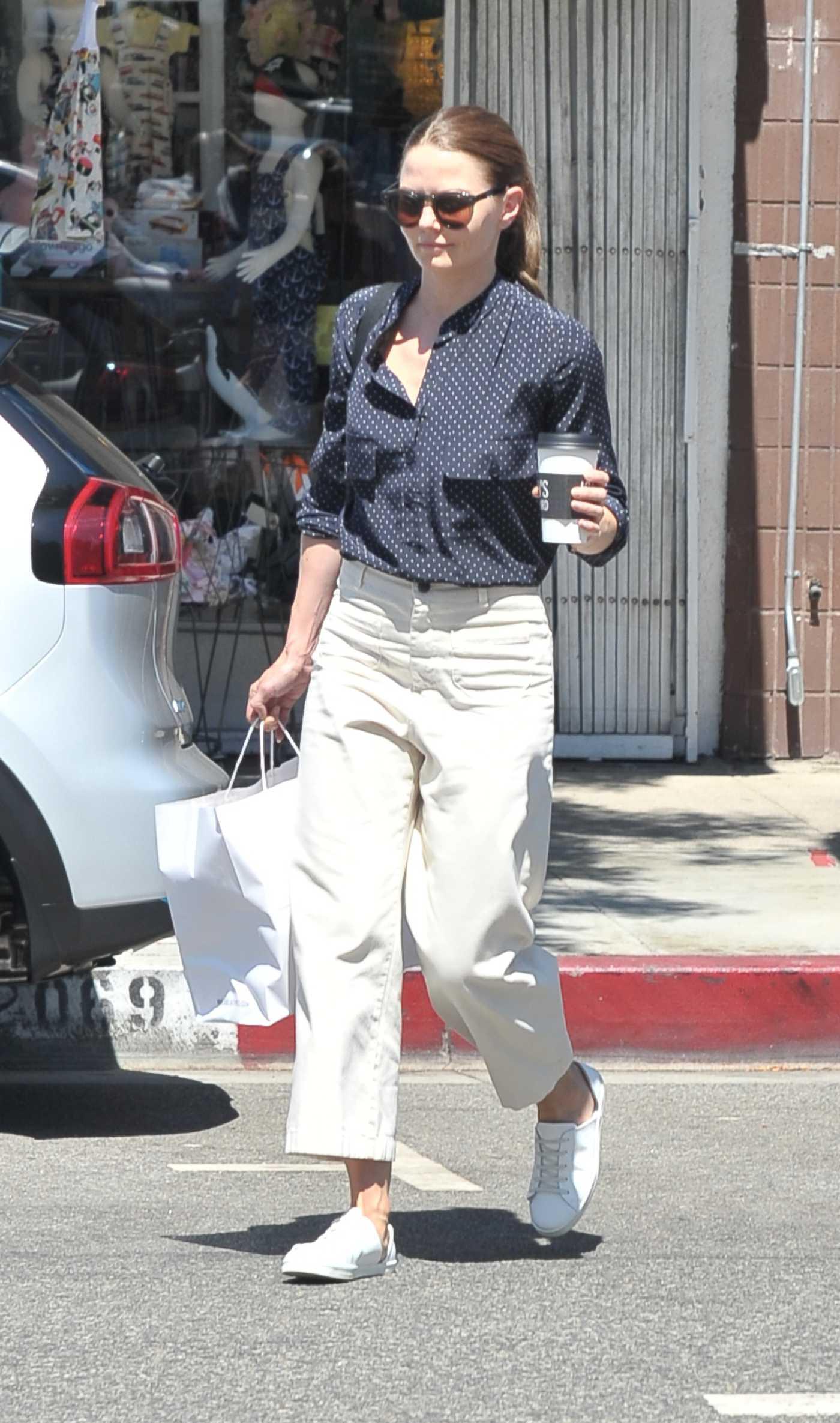 Jennifer Morrison in a White Sneakers Was Seen Out in Studio City 08/21/2019