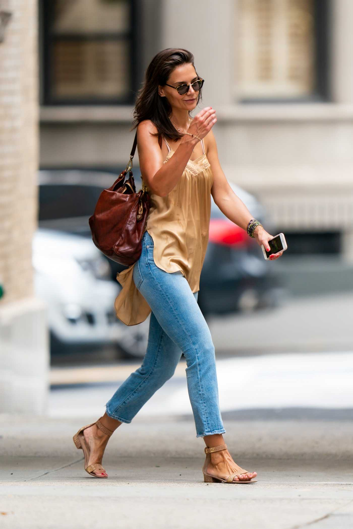 Katie Holmes in a Beige Blouse Was Seen Out in New York 08/17/2019