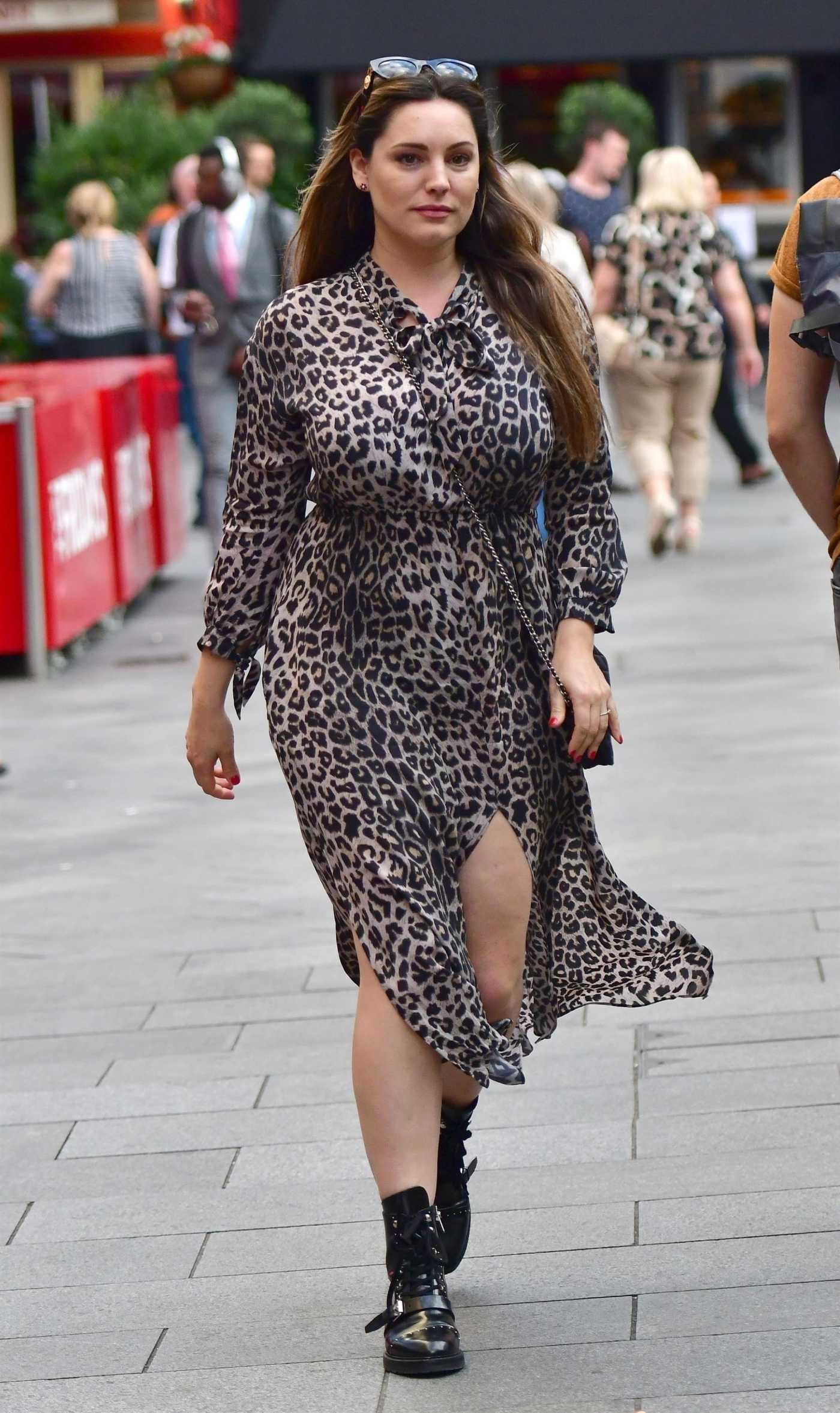 Kelly Brook in a Leopard Print Dress Arrives at Global Radio in London 08/15/2019