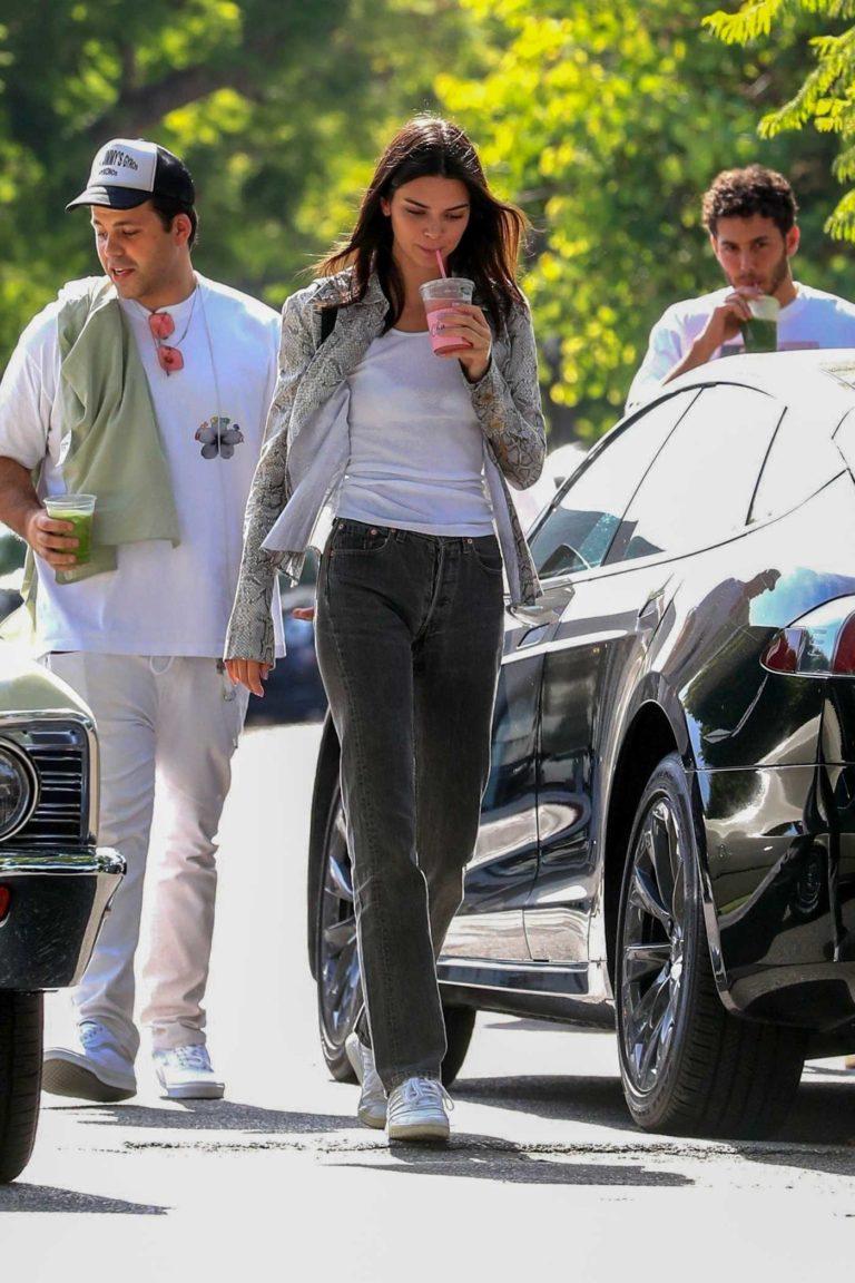 Kendall Jenner in a Snakeskin Print Blouse